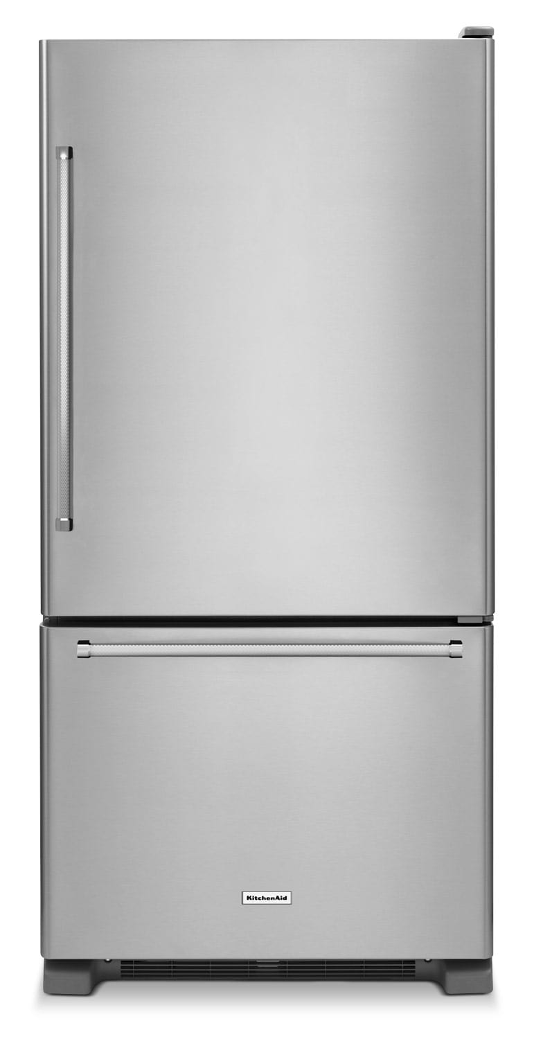 Refrigerators and Freezers - KitchenAid Stainless Steel Bottom-Freezer Refrigerator (22.1 Cu. Ft.) - KRBR102ESS