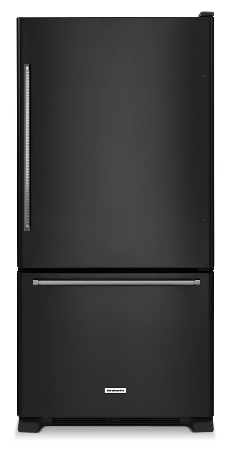 Refrigerators and Freezers - KitchenAid Black Bottom-Freezer Refrigerator (23.1 Cu. Ft.) - KRBX102EBL