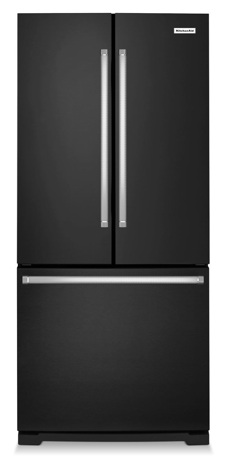Refrigerators and Freezers - KitchenAid Black French Door Refrigerator (19.7 Cu. Ft.) - KRFF300EBL
