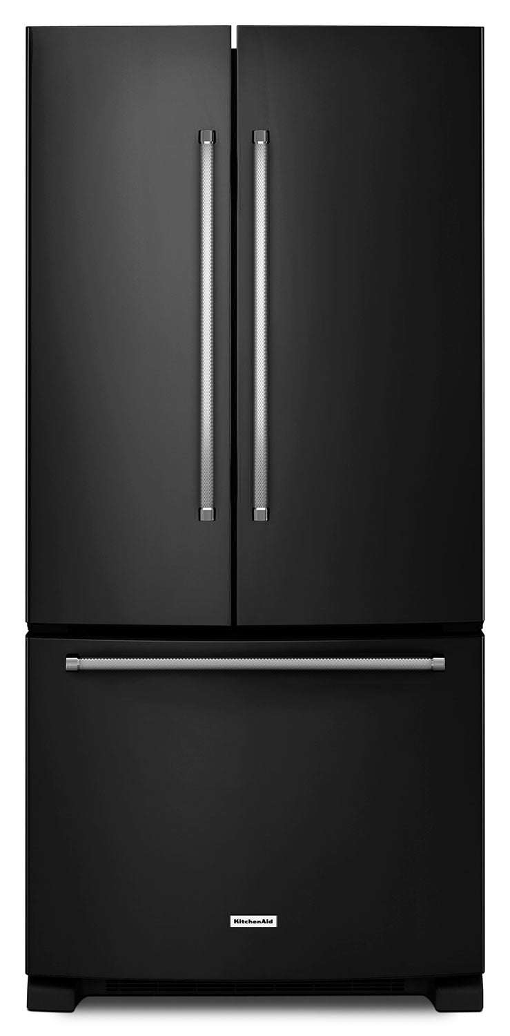 Refrigerators and Freezers - KitchenAid Black French Door Refrigerator (22 Cu. Ft.) - KRFF302EBL