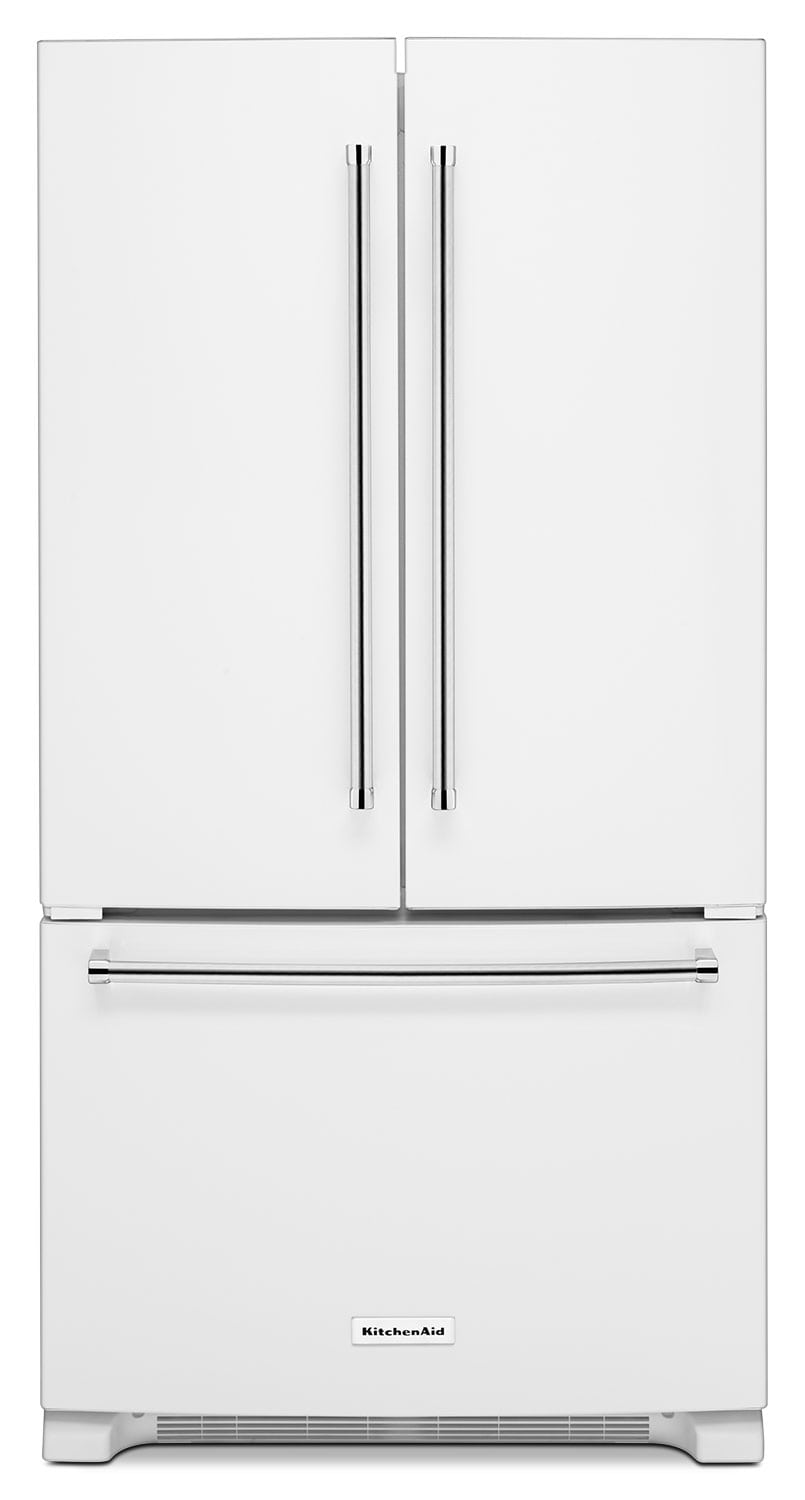 Refrigerators and Freezers - KitchenAid White French Door Refrigerator (25 Cu. Ft.) - KRFF305EWH