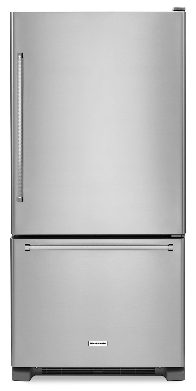 Refrigerators and Freezers - KitchenAid Stainless Steel Bottom-Freezer Refrigerator (18.7 Cu. Ft.) - KRBR109ESS
