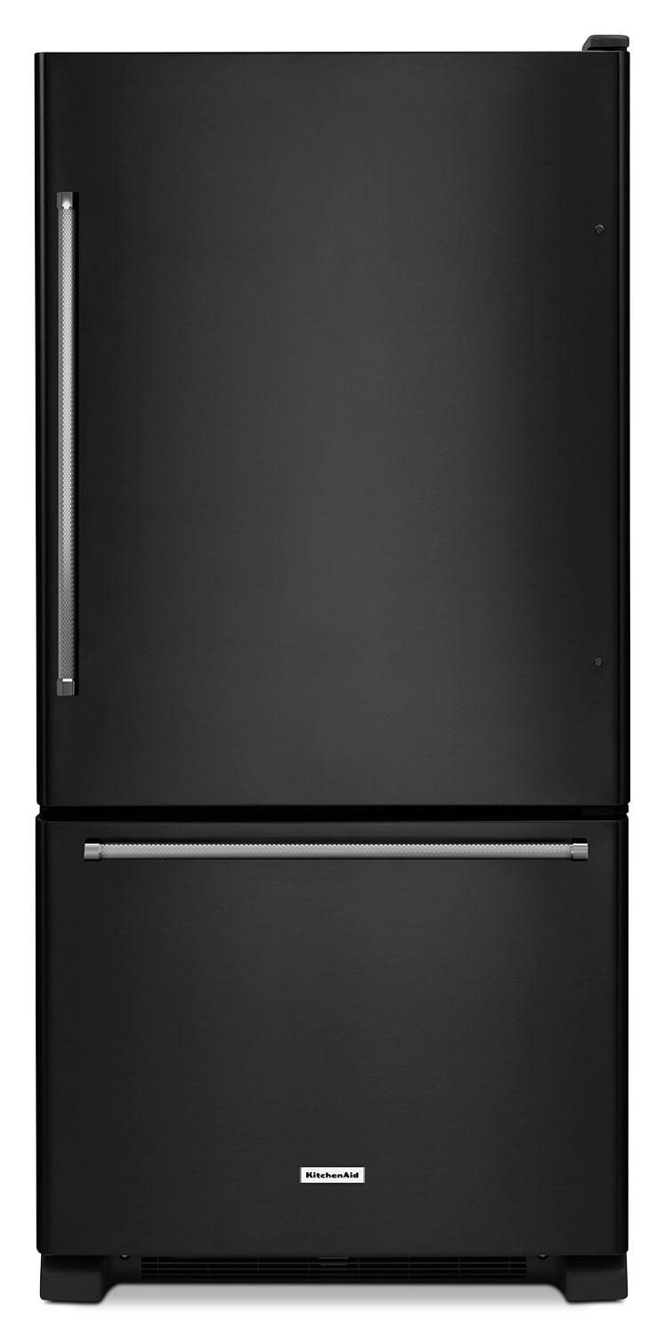 Refrigerators and Freezers - KitchenAid Black Bottom-Freezer Refrigerator (18.7 Cu. Ft.) - KRBX109EBL