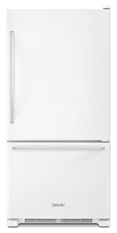 Refrigerators and Freezers - KitchenAid White Bottom-Freezer Refrigerator (18.7 Cu. Ft.) - KRBX109EWH