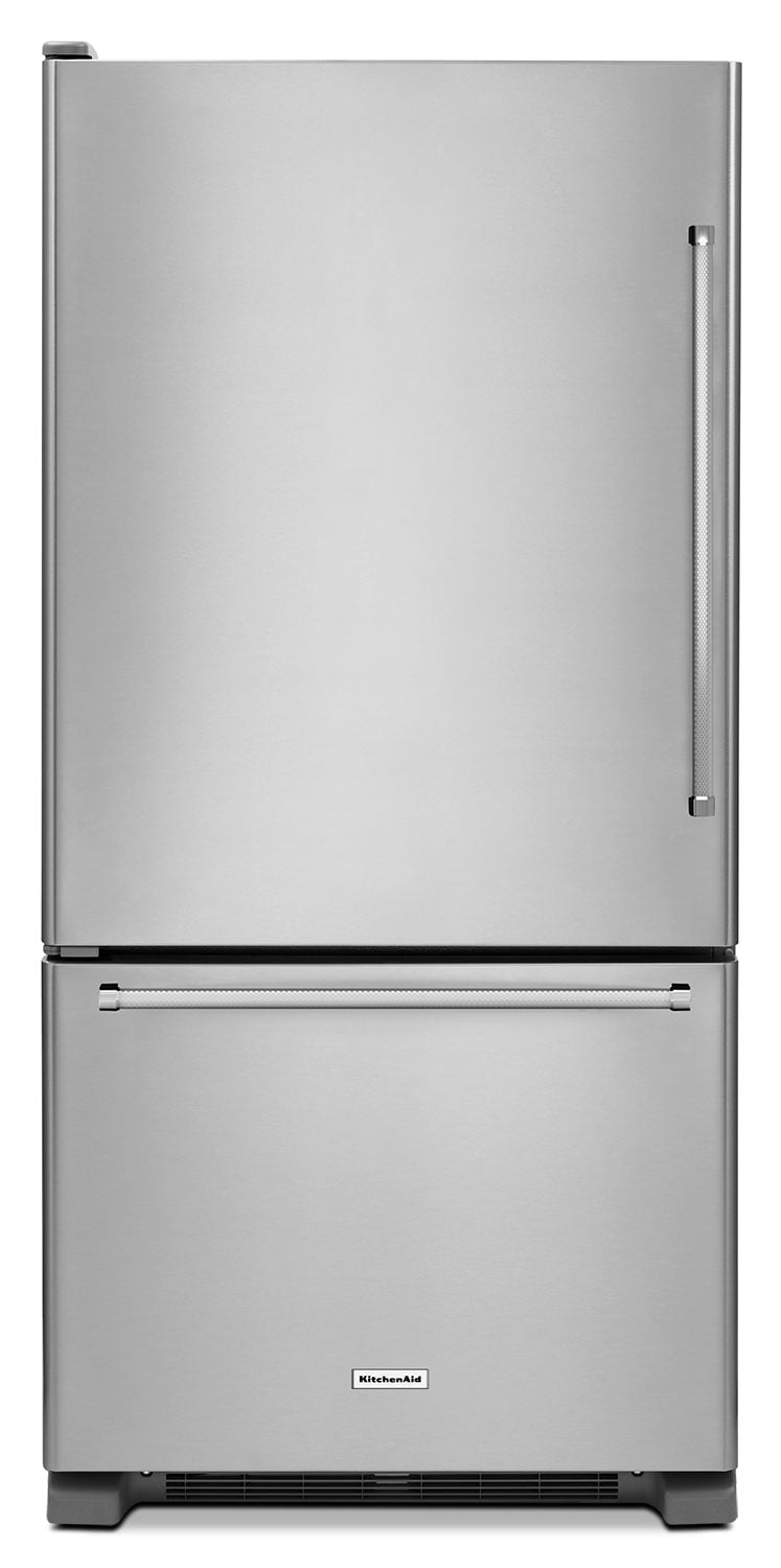 Refrigerators and Freezers - KitchenAid Stainless Steel Bottom-Freezer Refrigerator (23.1 Cu. Ft.) - KRBL102ESS