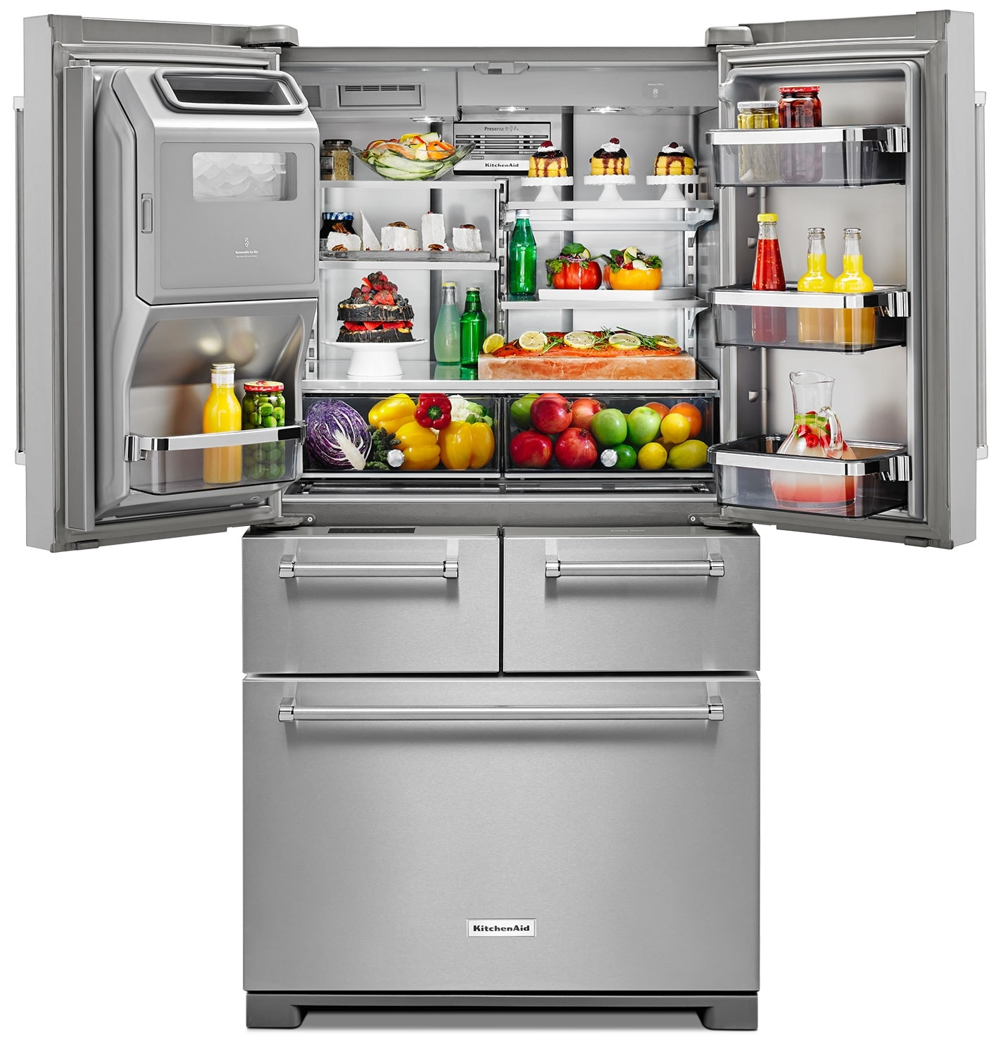 Kitchenaid 25 8 cu ft multi door refrigerator with for 0 kitchen appliances