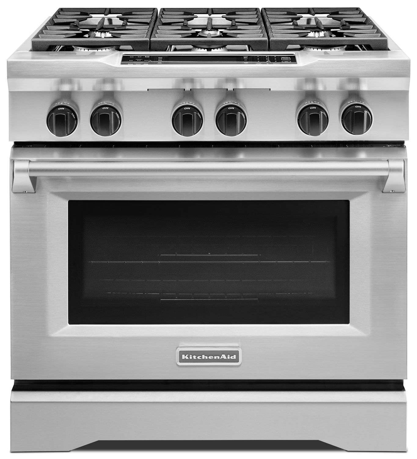 Kitchenaid Black Stainless Package: KitchenAid Stainless Steel Freestanding Dual Fuel Range (5