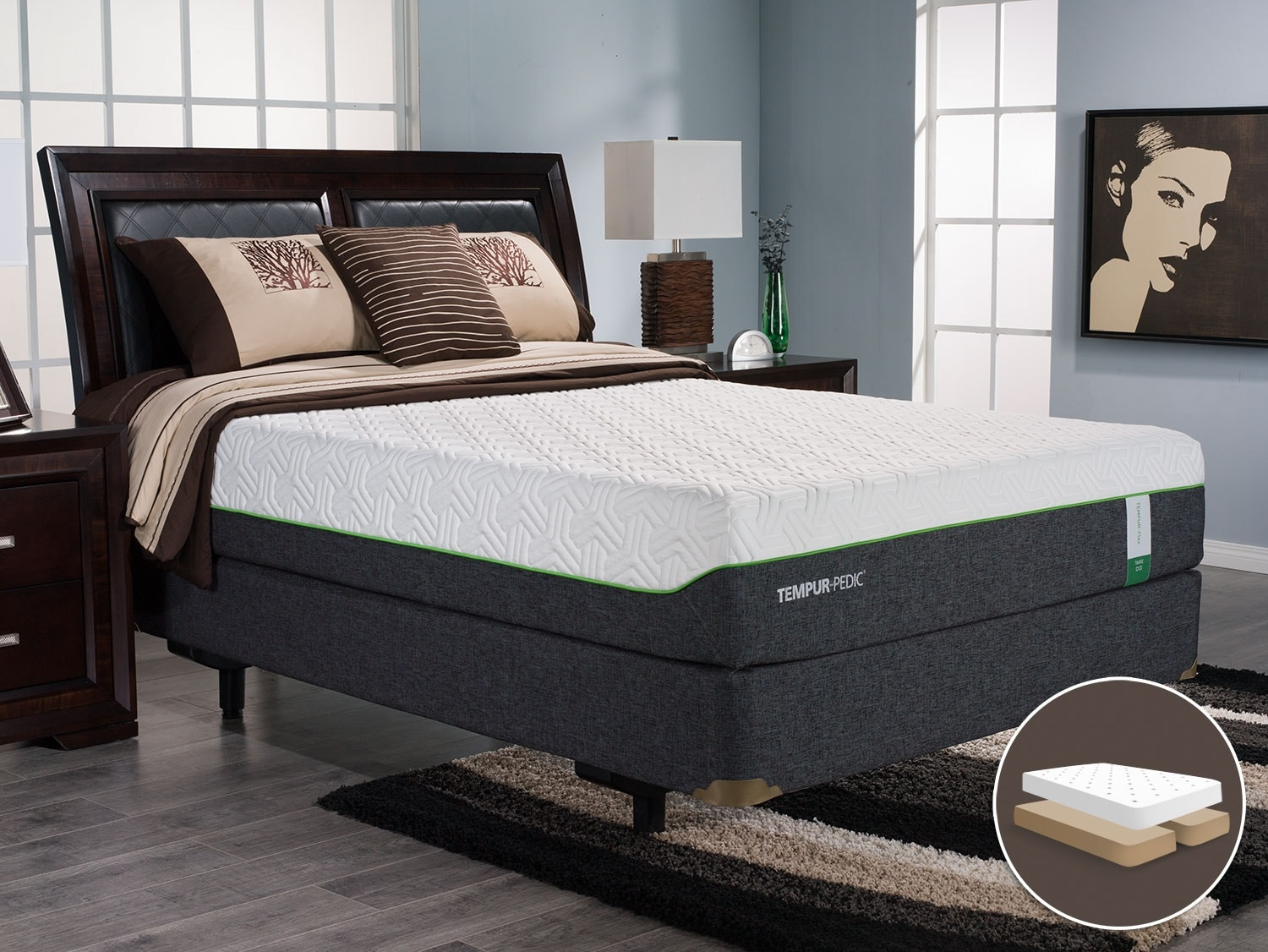 Mattresses and Bedding - TEMPUR-Flex™ Tahoe Split Queen Mattress Set