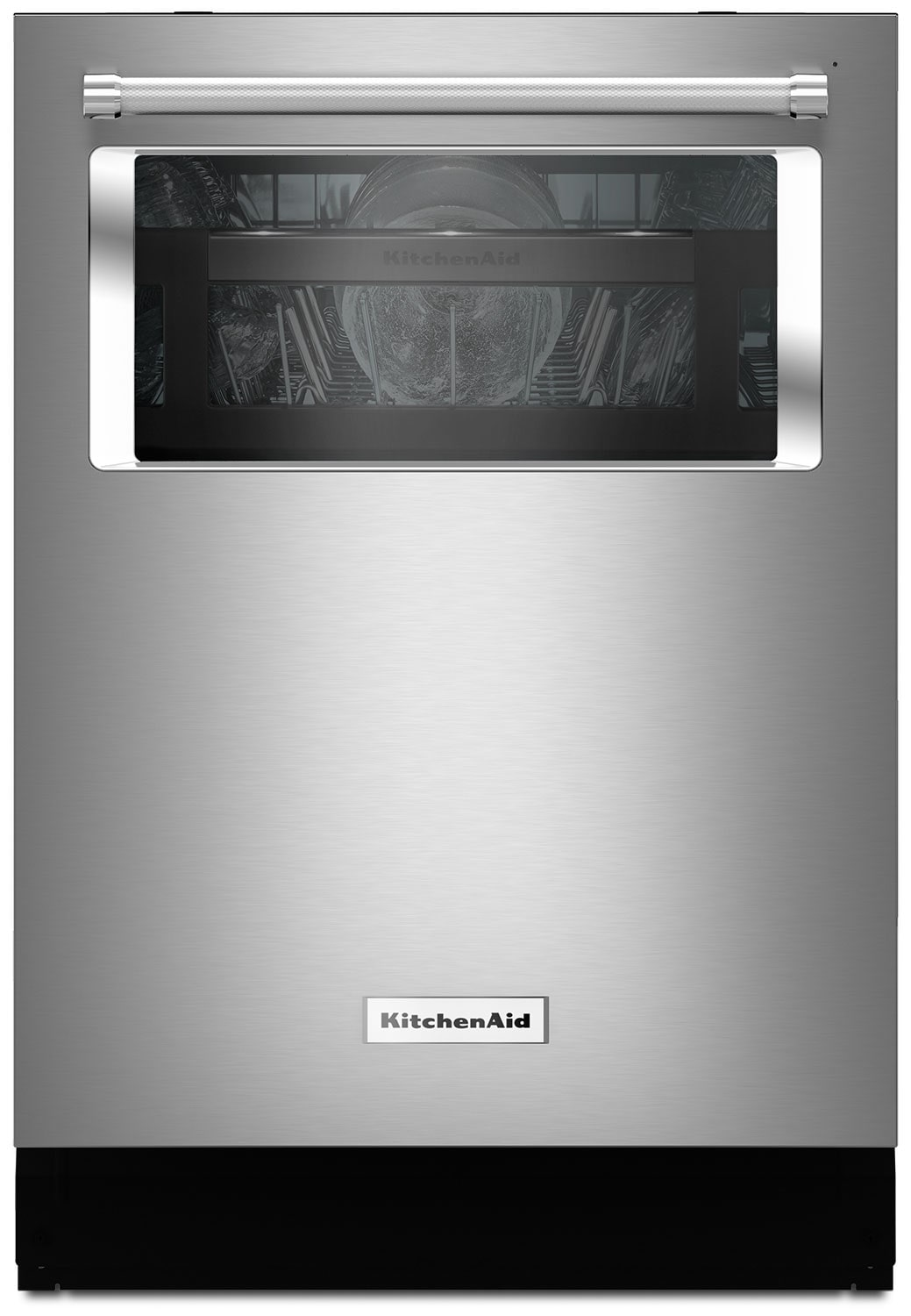 Kitchenaid 24 dishwasher with window and lighted interior stainless steel the brick for White dishwasher with stainless steel interior