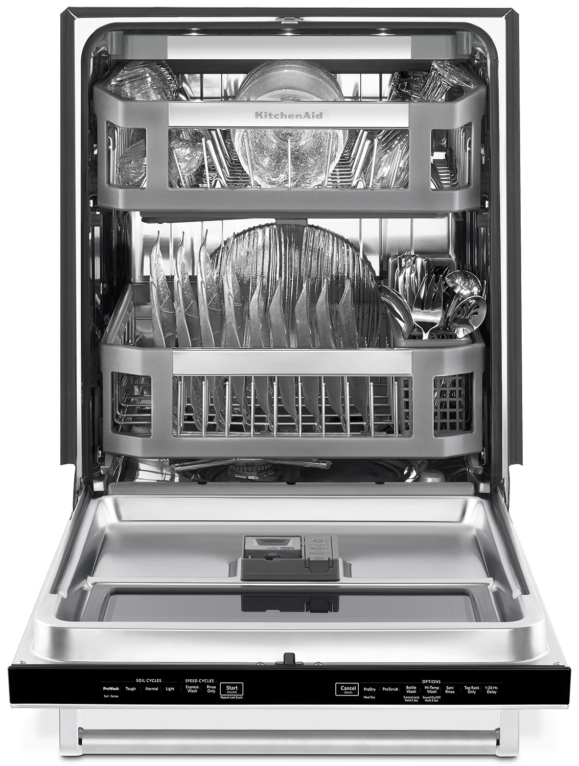 Kitchenaid 24 dishwasher with window and lighted interior - Dishwasher with stainless steel interior ...