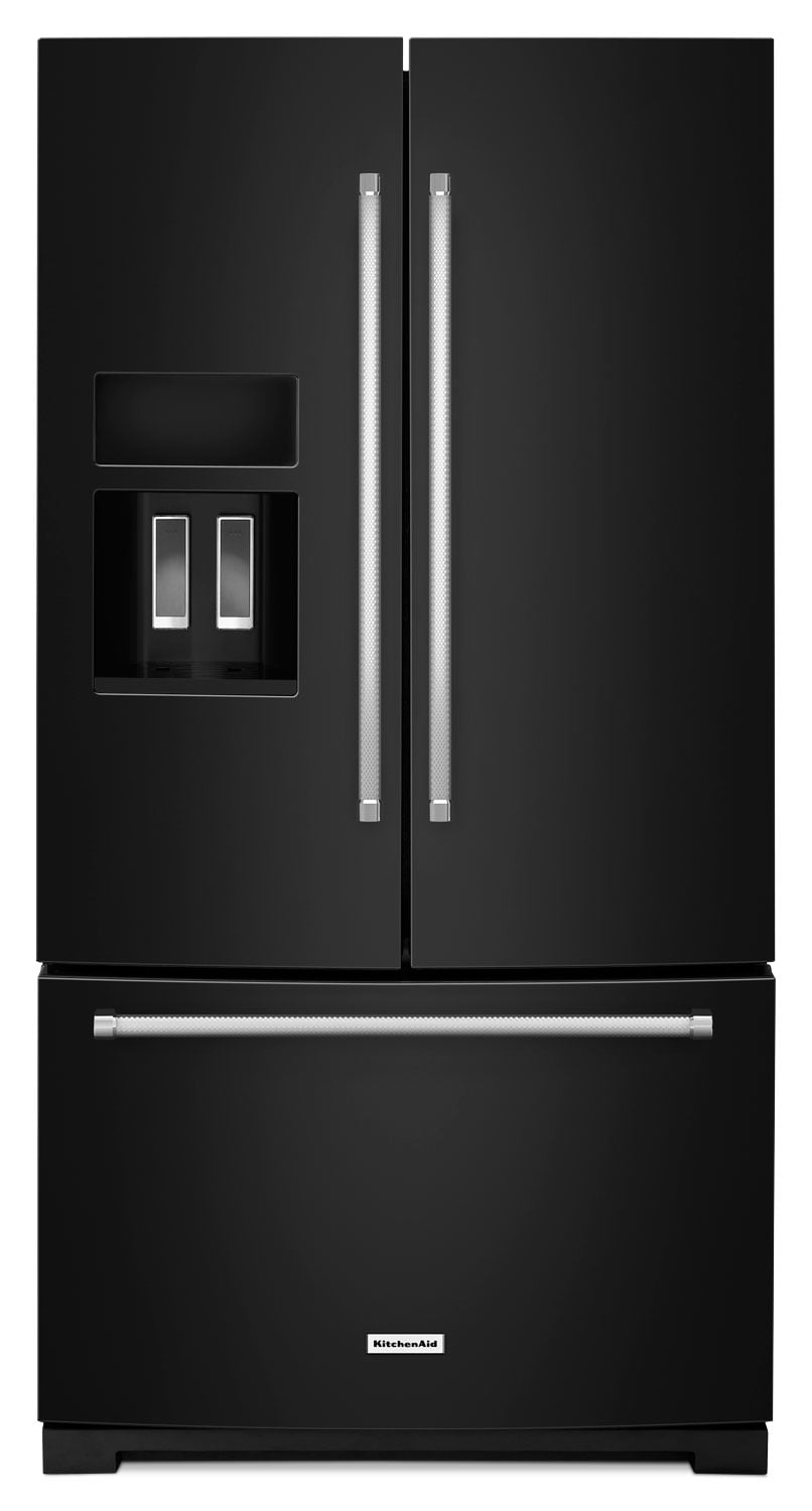 Refrigerators and Freezers - KitchenAid Black French Door Refrigerator (26.8 Cu. Ft.) - KRFF507EBL