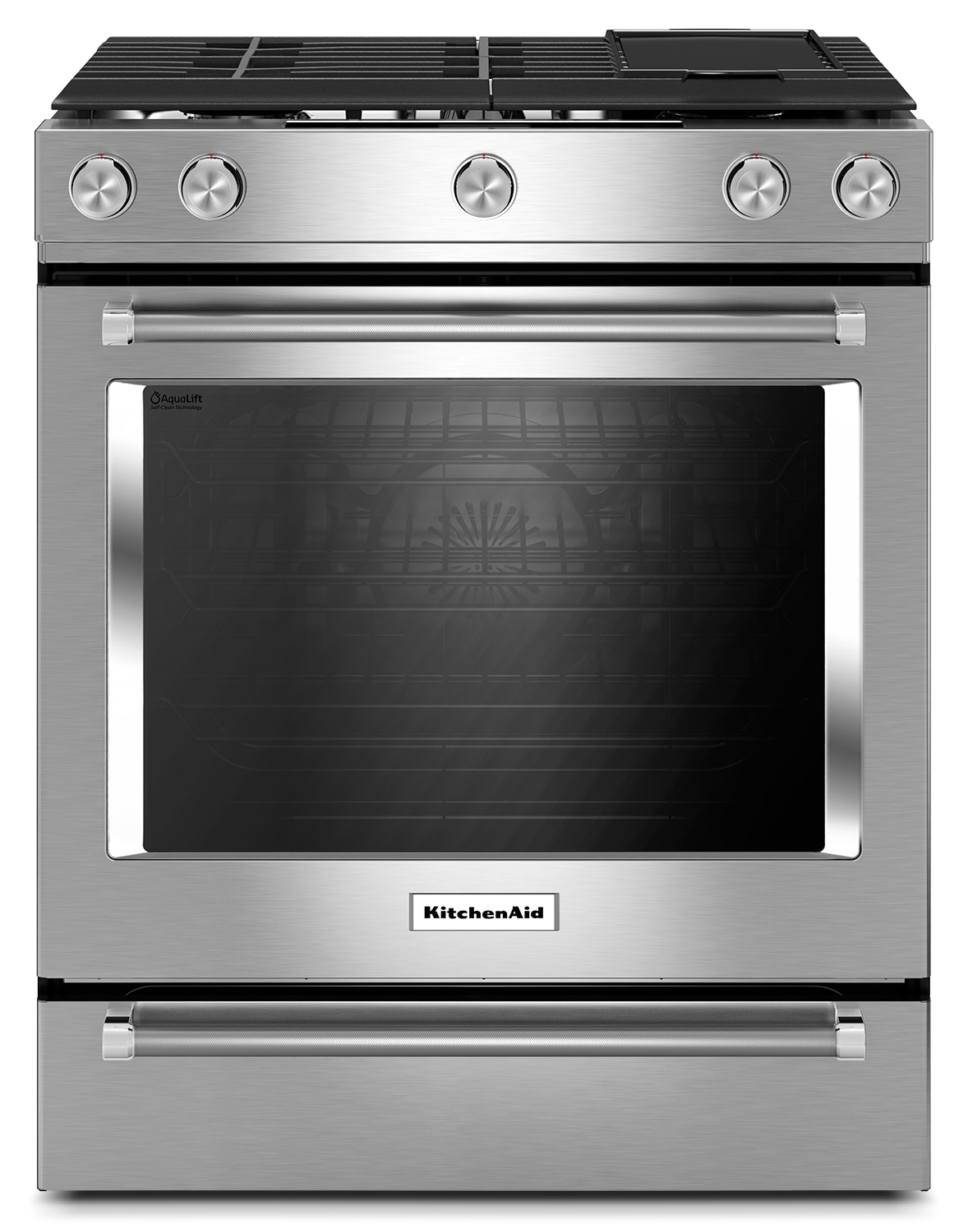 Cooking Products - KitchenAid Stainless Steel Slide-In Gas Convection Range (6.5 Cu. Ft.) - KSGB900ESS