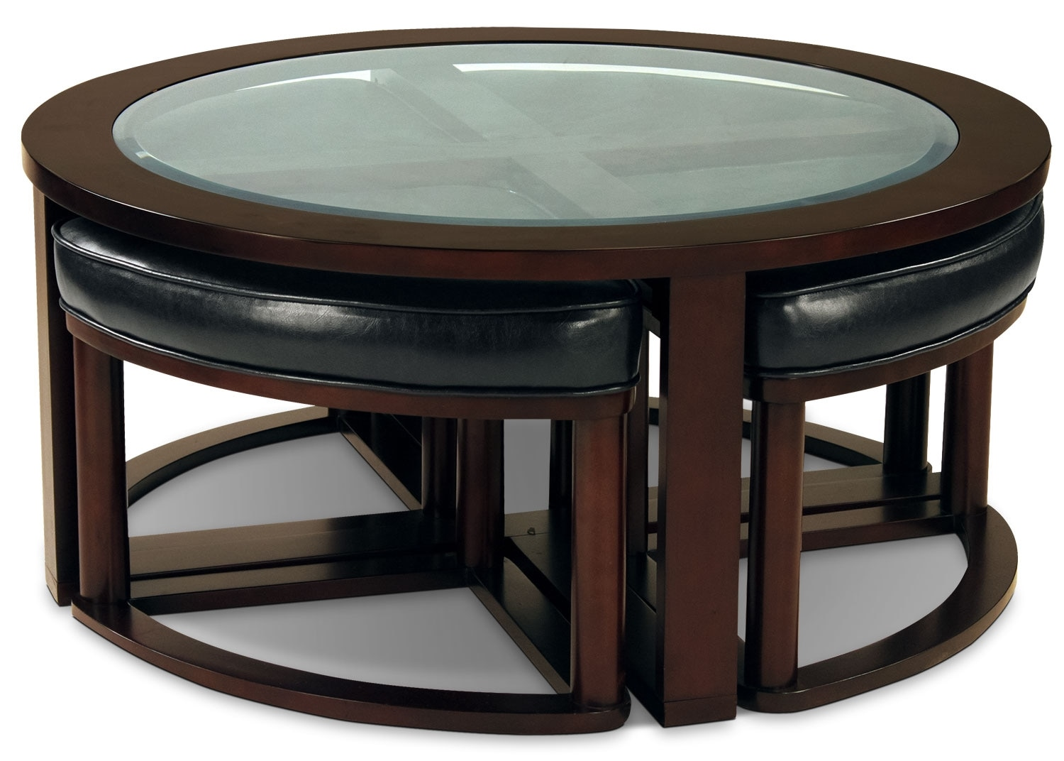 Accent and Occasional Furniture - Sierra Coffee Table with Four Ottoman Wedge Stools