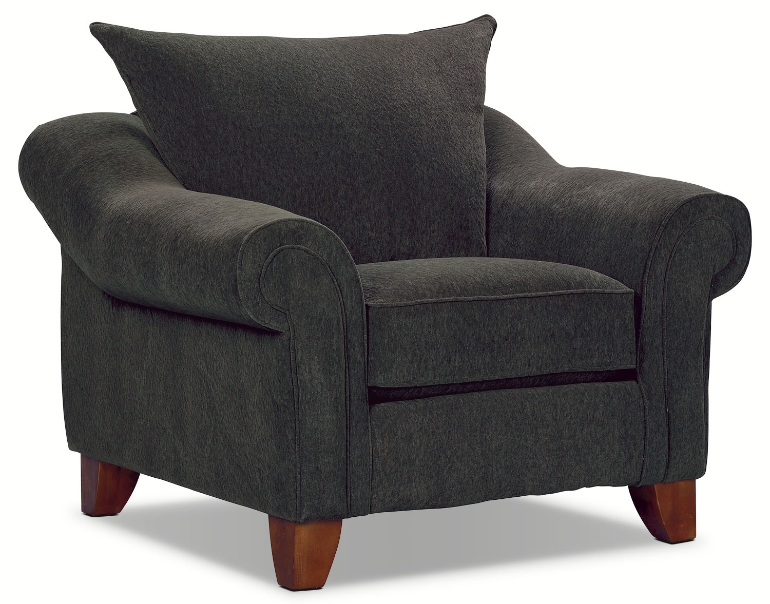 Living Room Furniture - Reese Chenille Chair - Dark Grey
