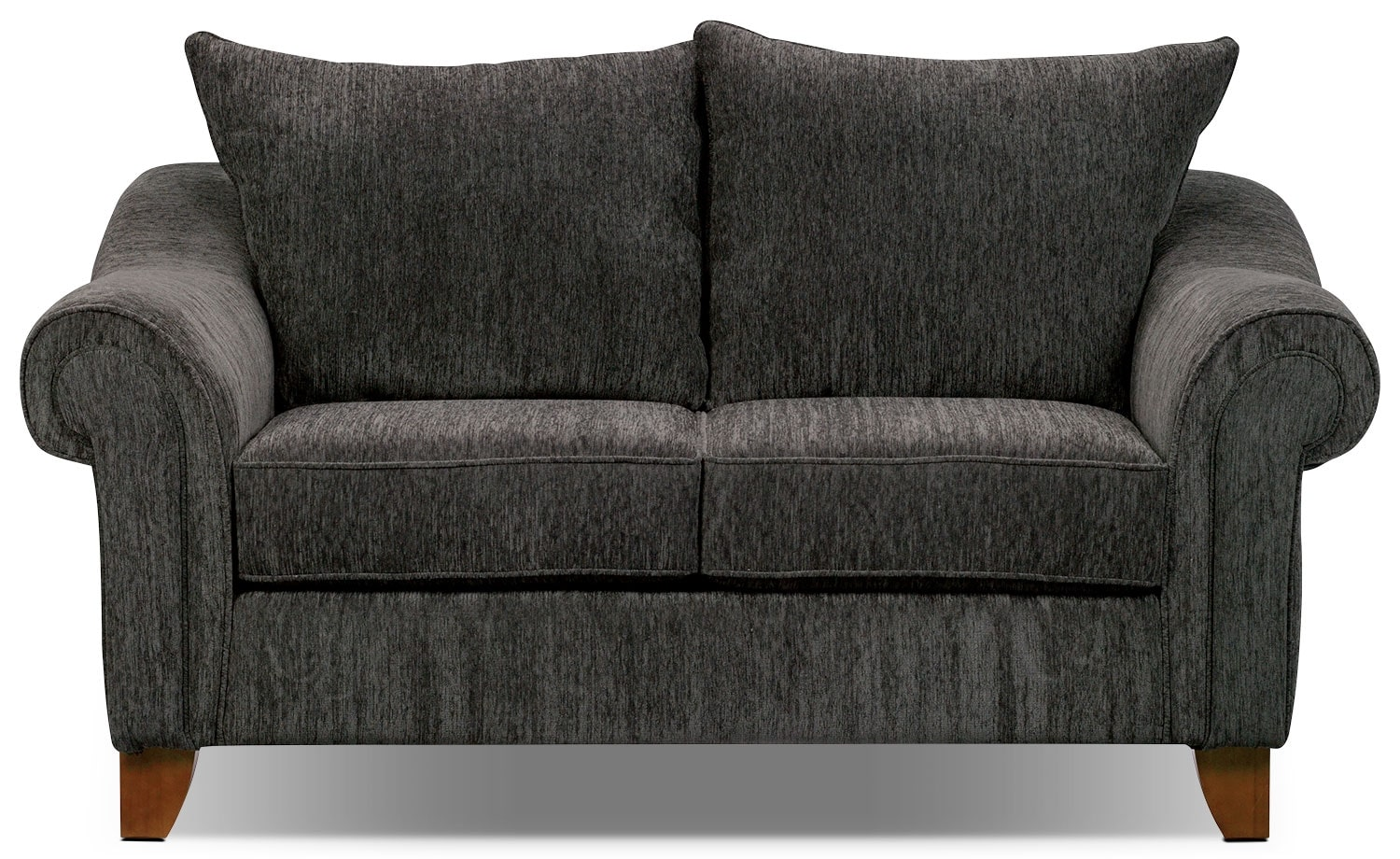 Living Room Furniture - Reese Chenille Loveseat – Dark Grey