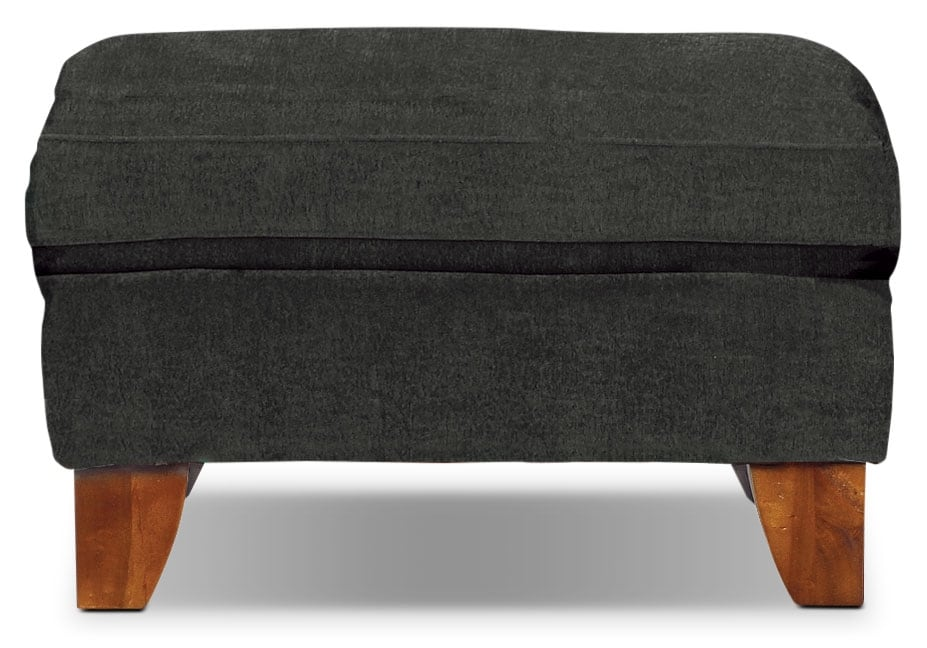 Living Room Furniture - Reese Chenille Ottoman – Dark Grey