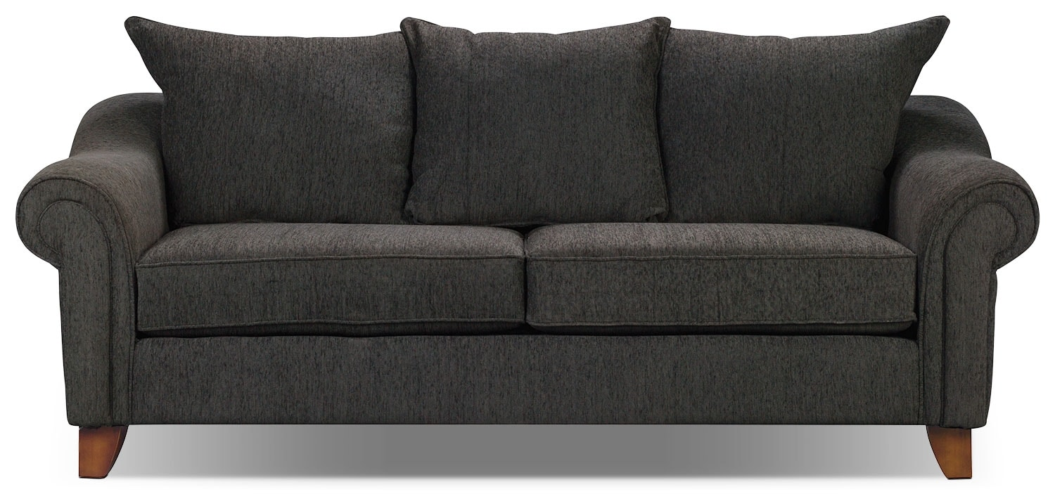 Reese chenille sofa dark grey the brick for Gray living room black furniture