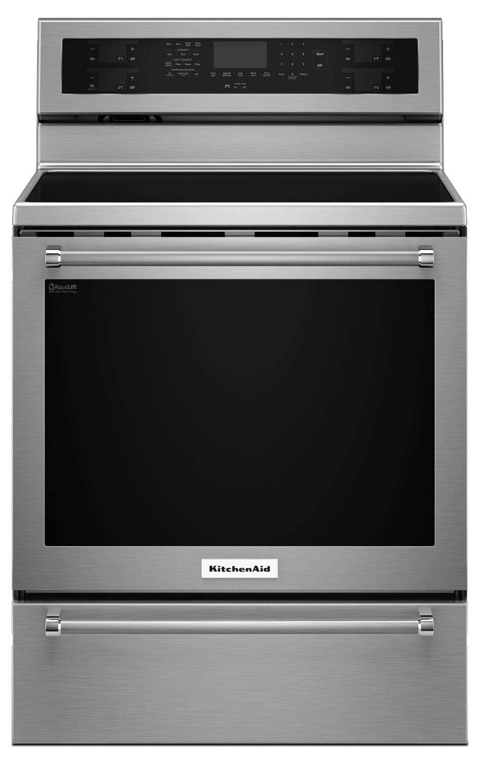 Cooking Products - KitchenAid 6.4 Cu. Ft. Electric Convection Range with Warming Drawer - Stainless Steel
