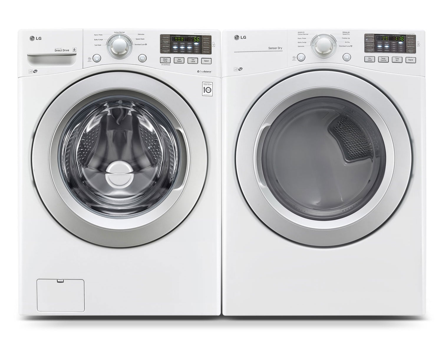 [LG White Front-Load Laundry Pair]
