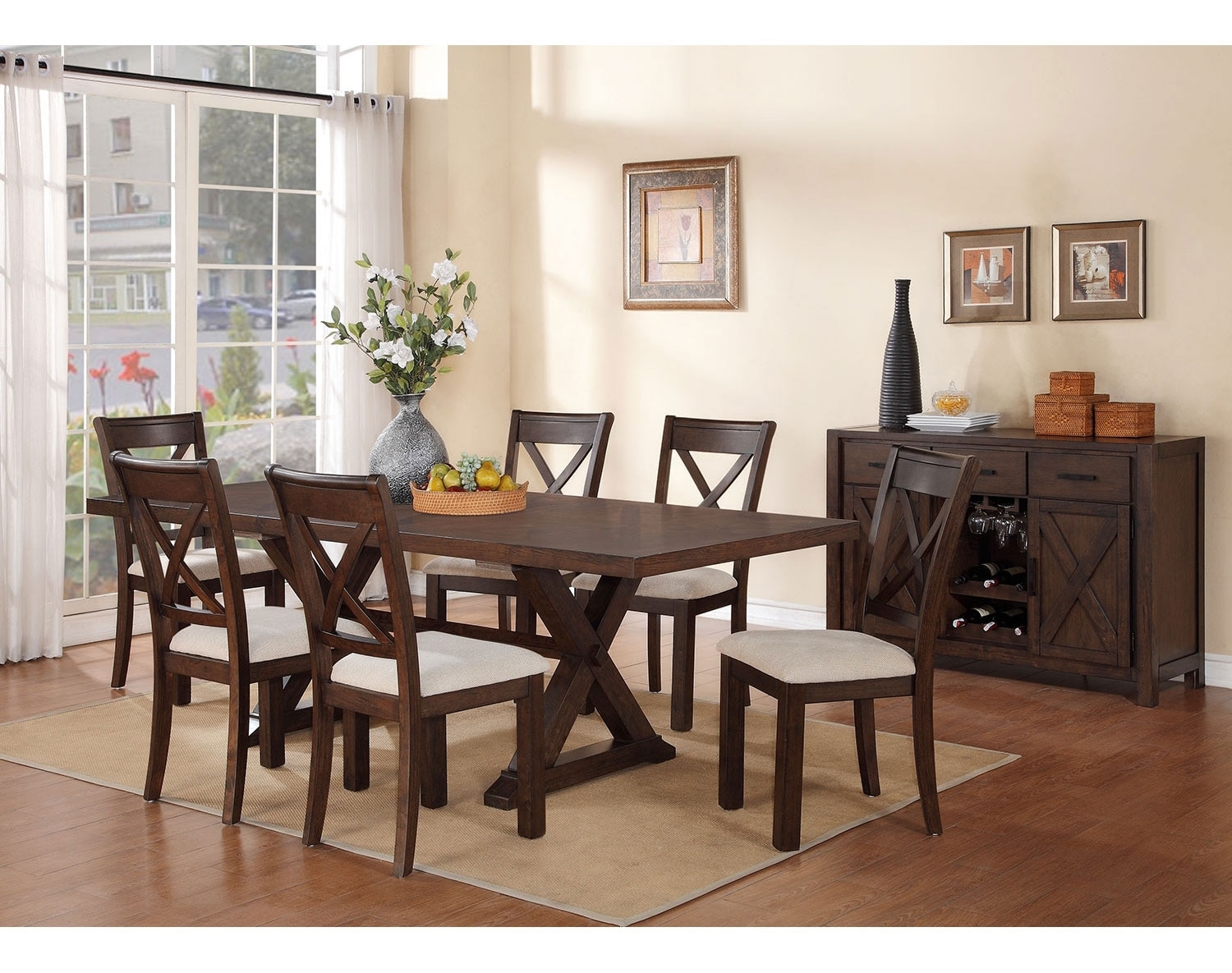 Claira 7 piece dining room set rustic brown leon 39 s for Furniture in room
