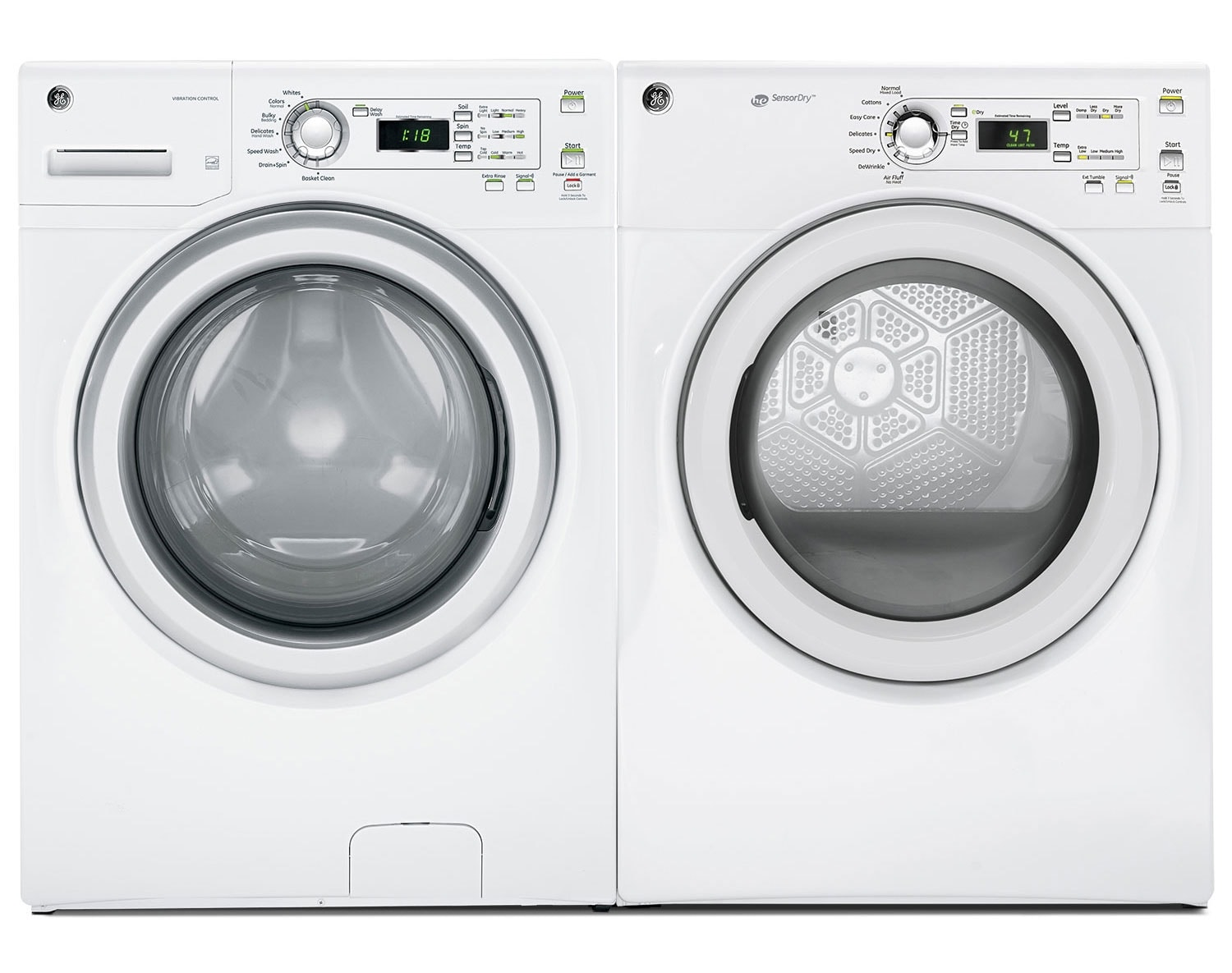 [GE Stainless Steel Front-Load Drum Laundry Pair]