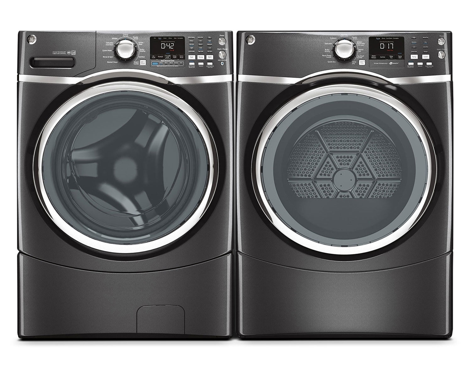 [GE Diamond Grey Front-Load Laundry Pair]