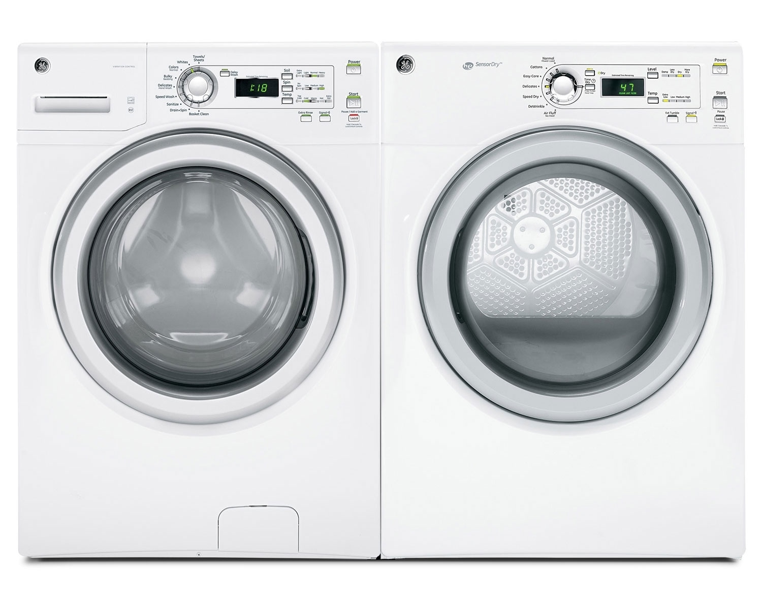 [GE White Front-Load Laundry Pair]