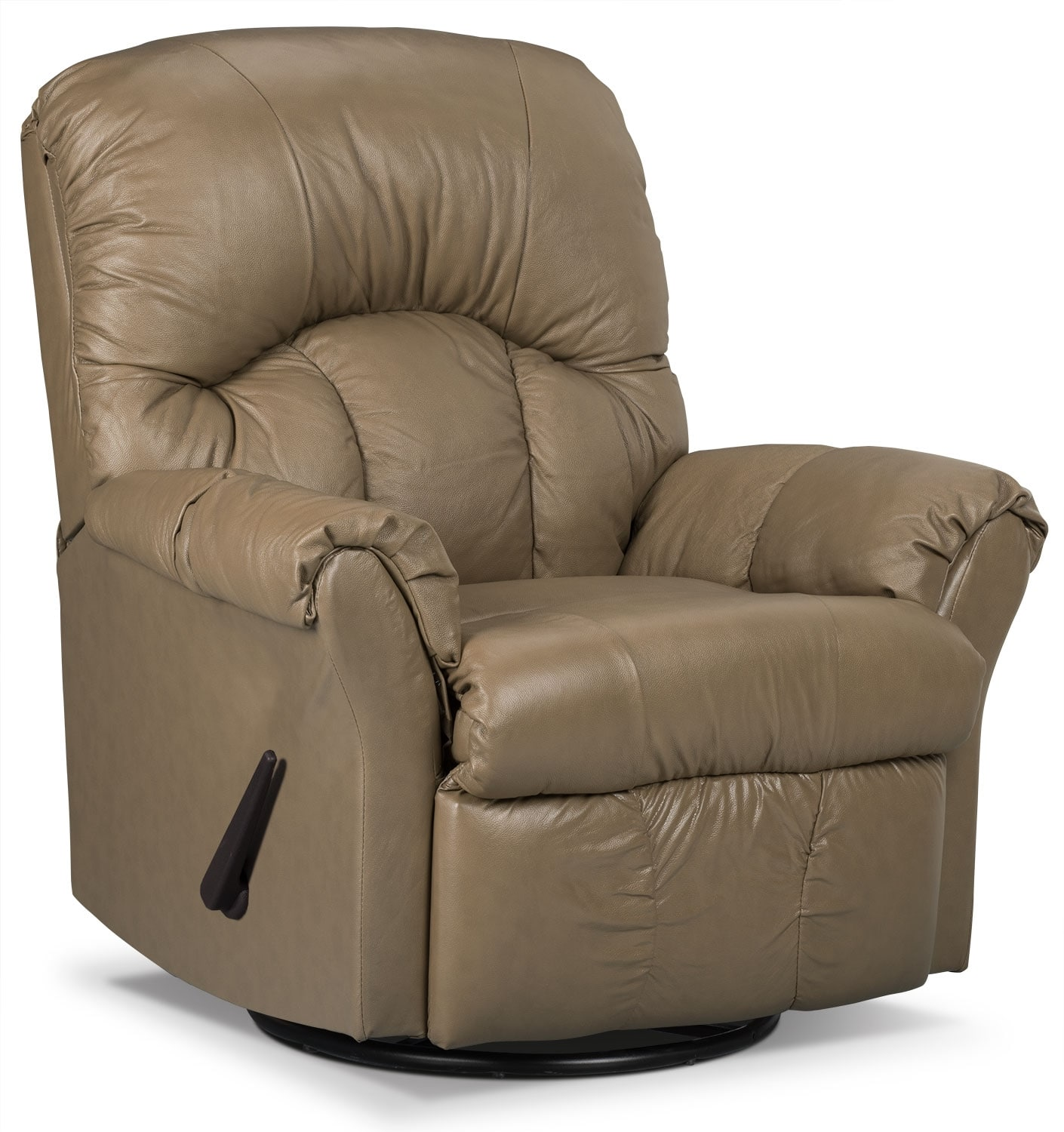 Living Room Furniture - Designed2B Recliner 6734 Genuine Leather Swivel Glider Chair - Buff