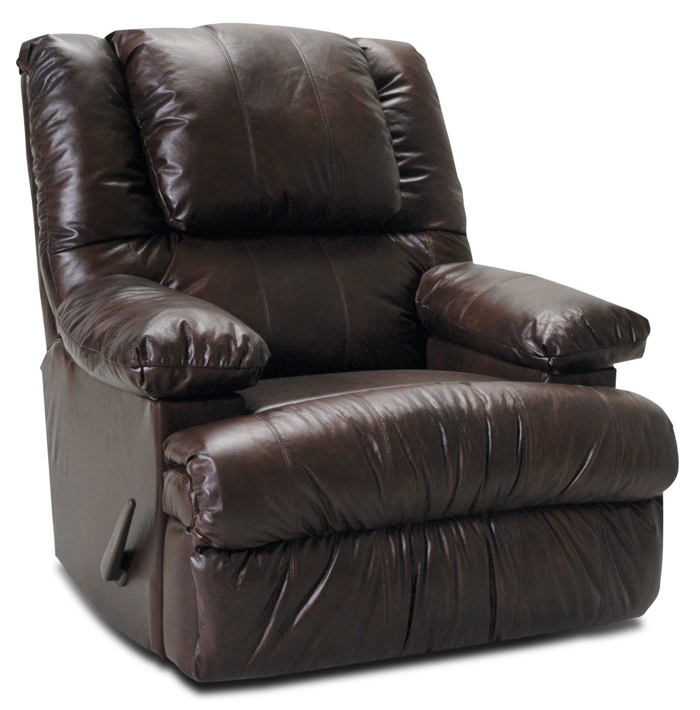 Living Room Furniture - Designed2B Recliner 5598 Genuine Leather Rocker with Storage Arms - Chocolate