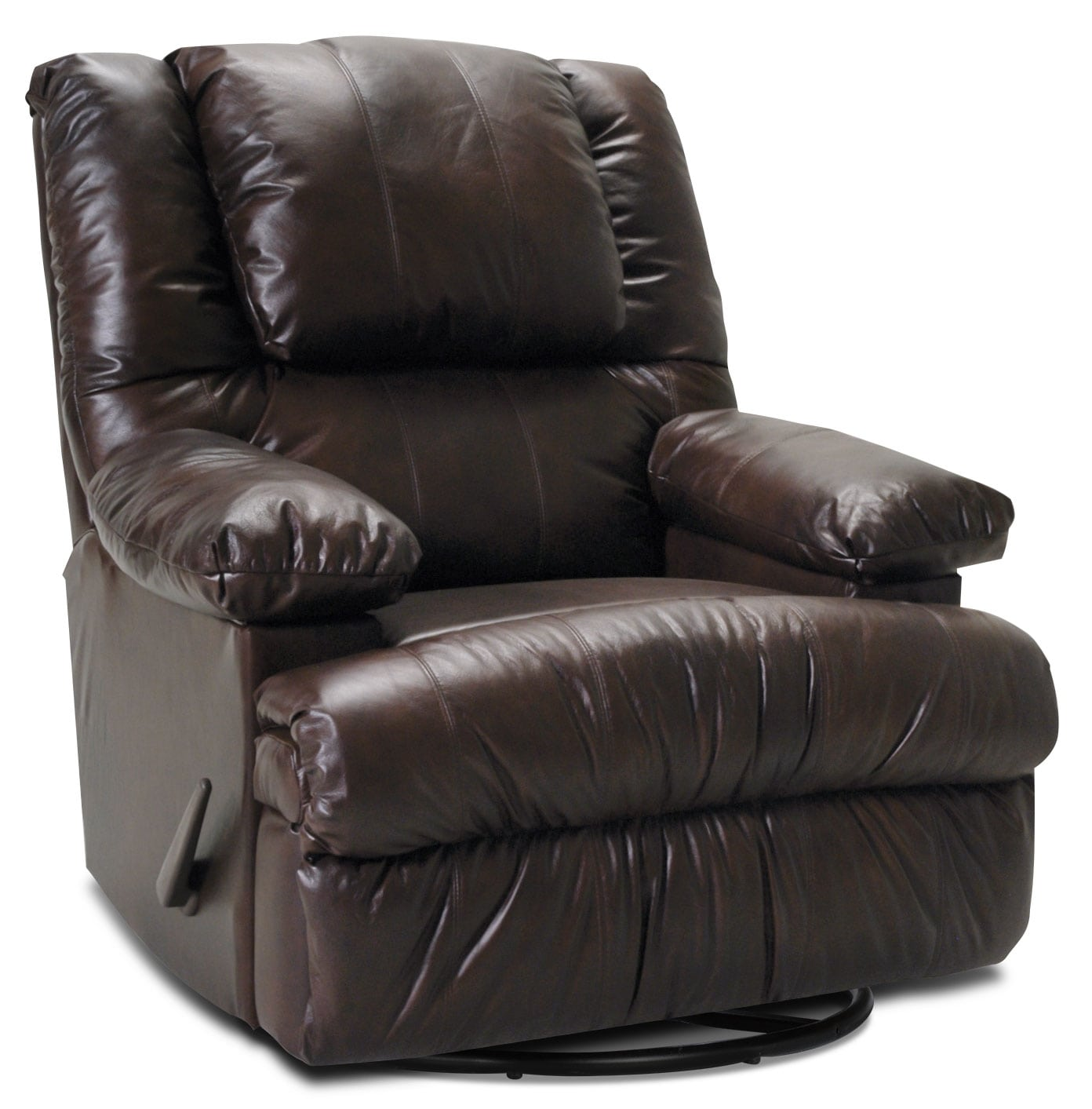 Living Room Furniture - Designed2B Recliner 5598 Genuine Leather Swivel Rocker with Storage Arms - Chocolate