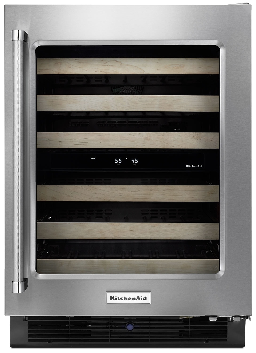 "Refrigerators and Freezers - KitchenAid 24"" Right-Swing Wine Cellar with Wood Racks - Stainless Steel"
