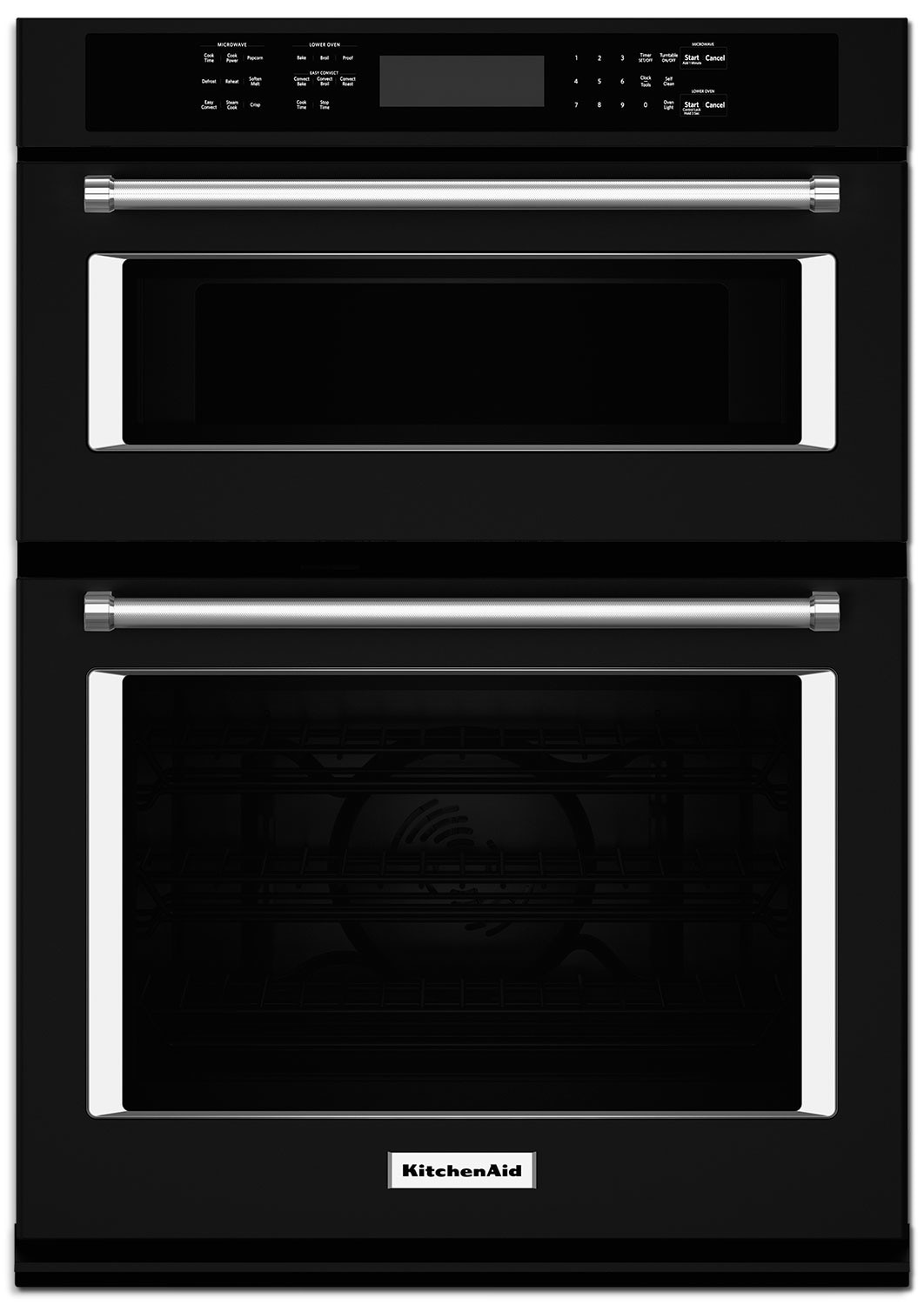 "Cooking Products - KitchenAid 30"" Double Wall Oven with Microwave and Conventional Oven - Black"