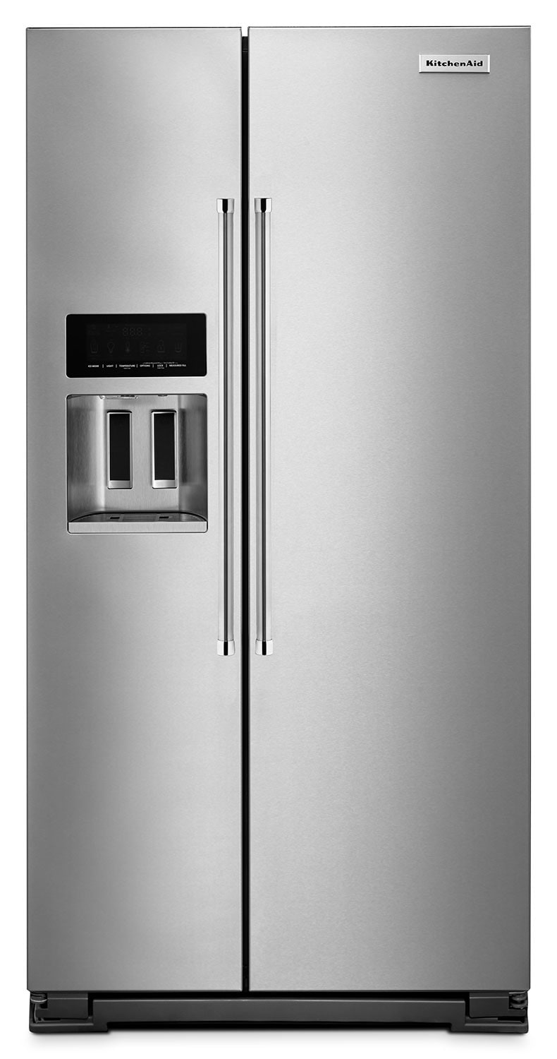 Refrigerators and Freezers - KitchenAid 22.6 Cu. Ft. Counter-Depth Side-by-Side Refrigerator - Stainless Steel