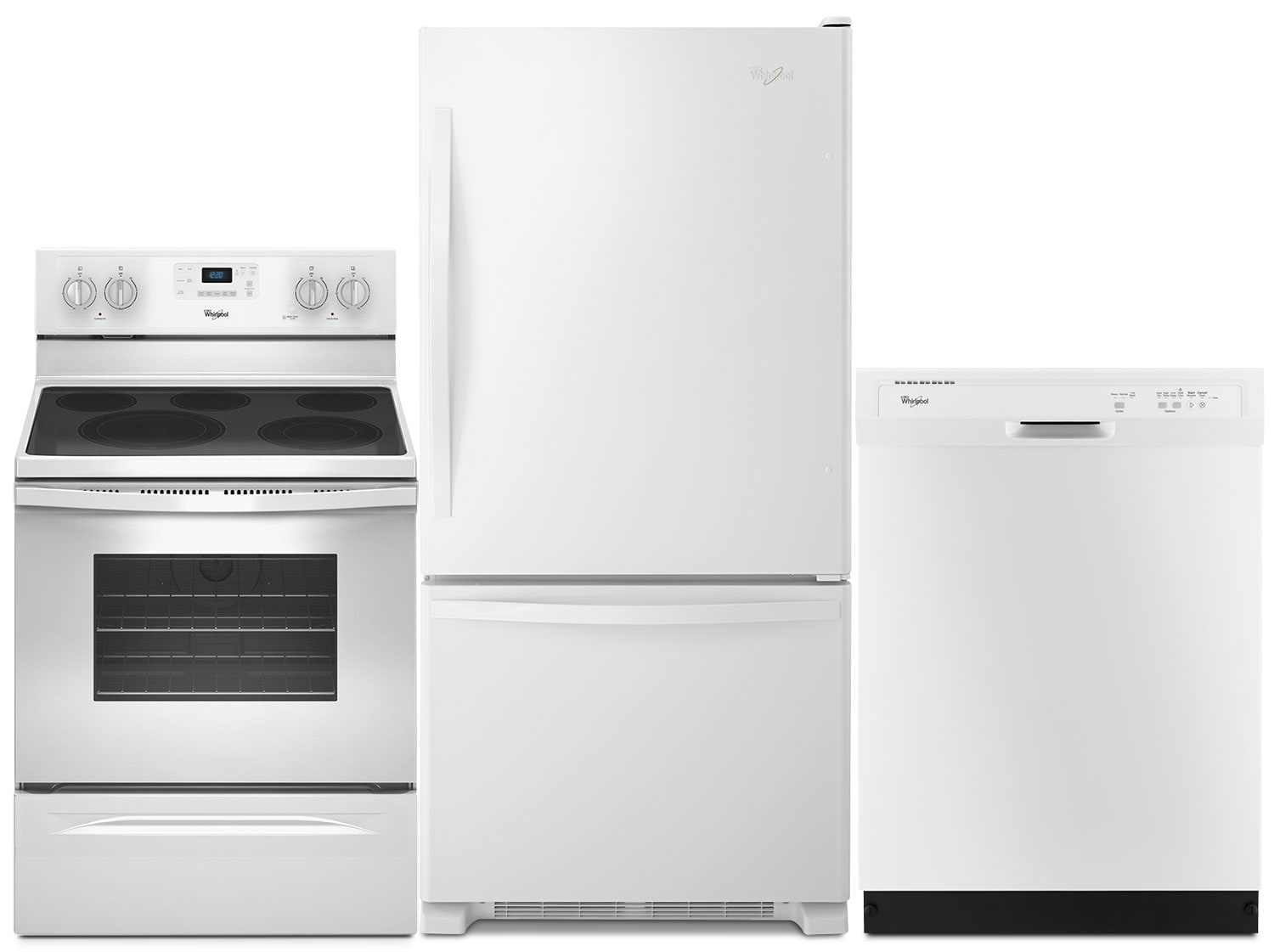 Whirlpool® 19 Cu. Ft. Refrigerator, 5.3 Cu. Ft. Electric Range and Dishwasher Package