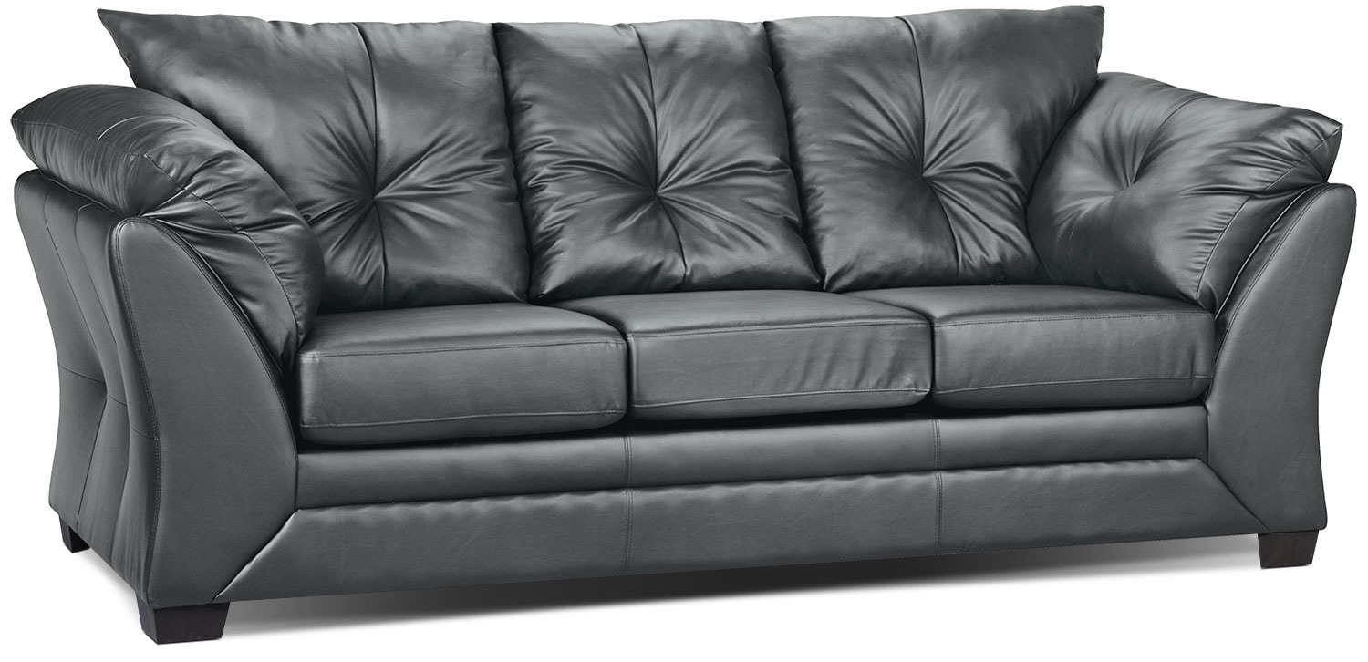 max faux leather sofa  grey  the brick -