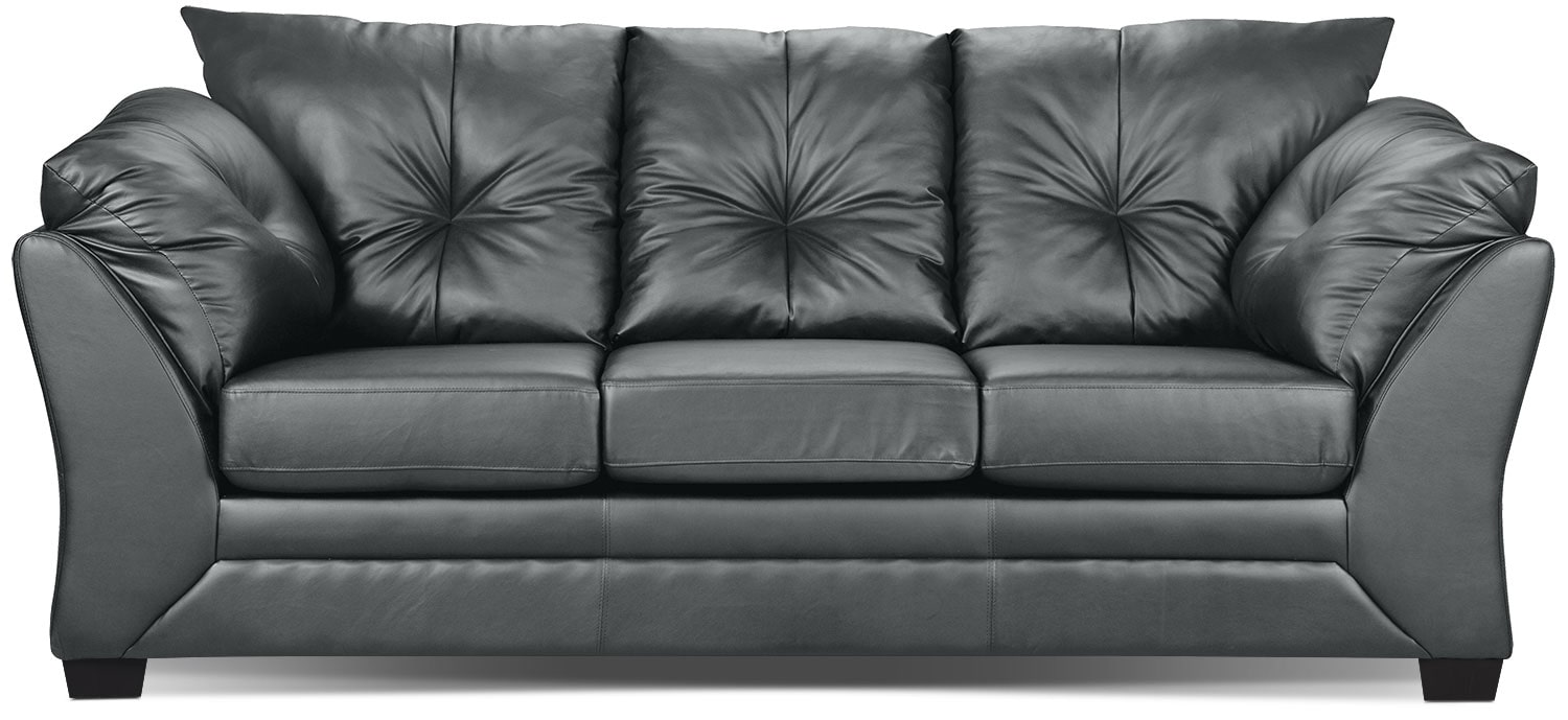 Living Room Furniture - Max Faux Leather Sofa - Grey