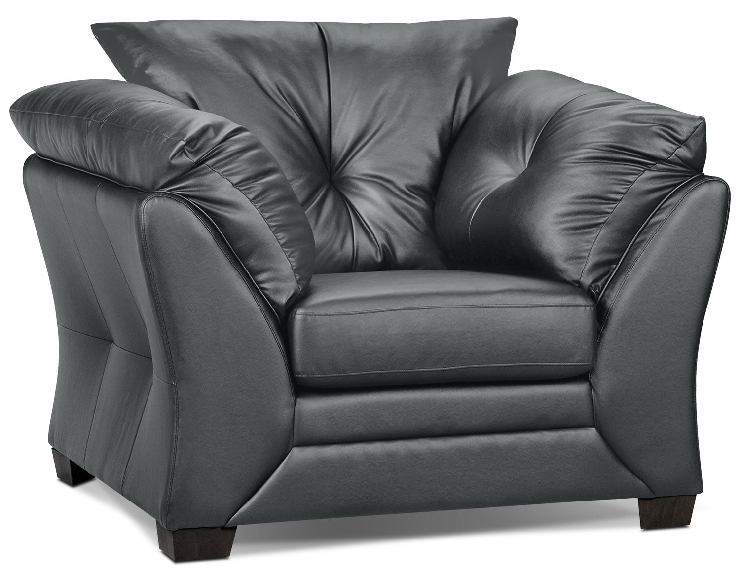 Living Room Furniture - Max Faux Leather Chair - Grey