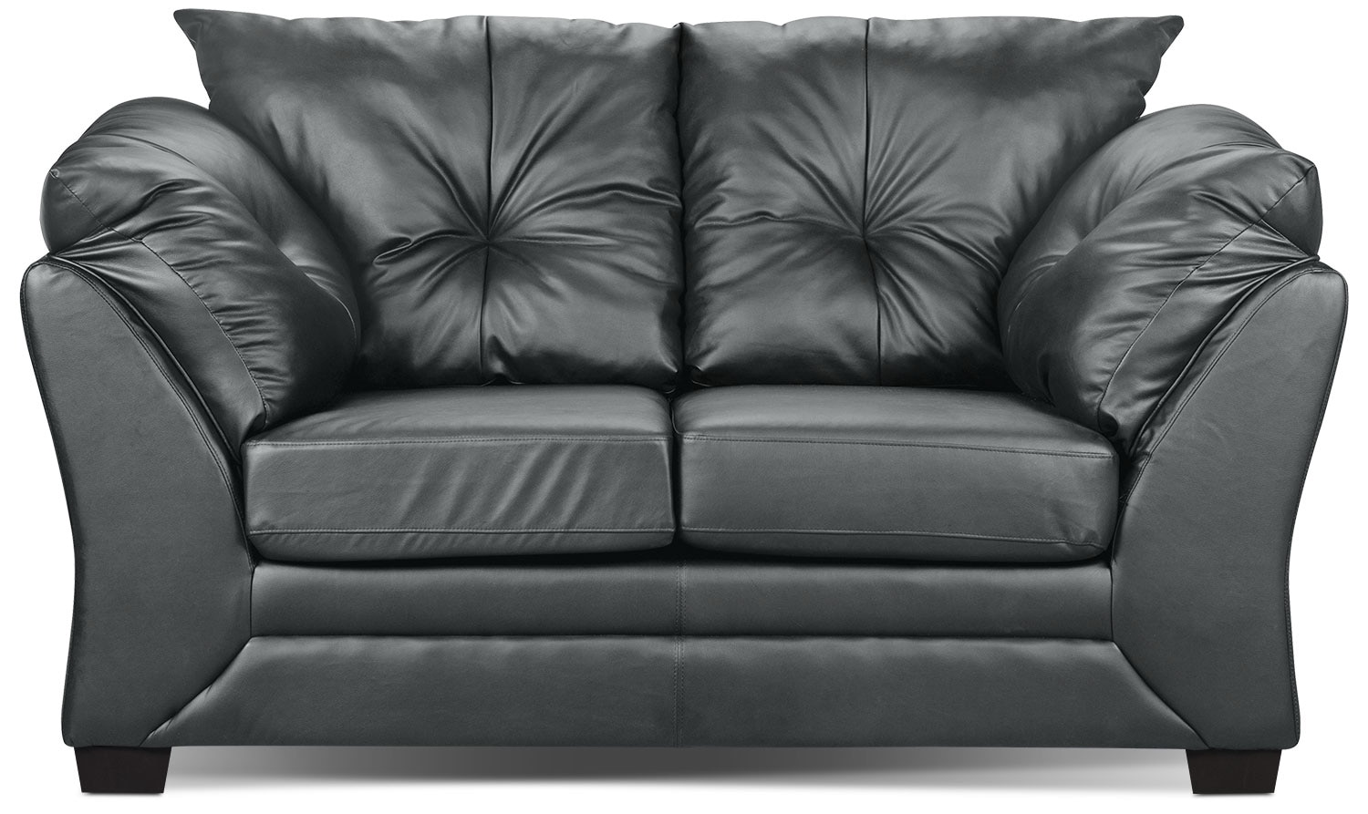 Living Room Furniture - Max Faux Leather Loveseat - Grey
