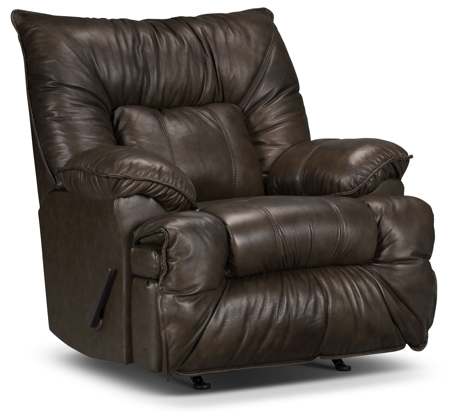 Living Room Furniture - Designed2B Recliner 7726 Leather-Look Fabric Rocking Chair- Chocolate