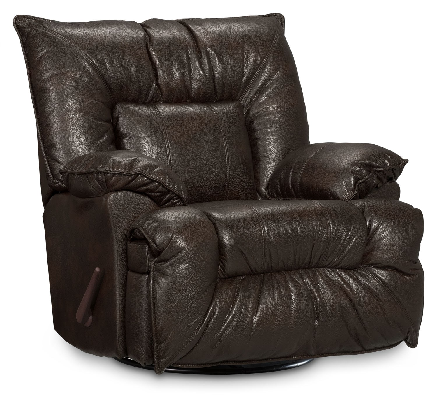 Living Room Furniture - Designed2B Recliner 7726 Leather-Like Fabric Swivel Glider Chair - Chocolate