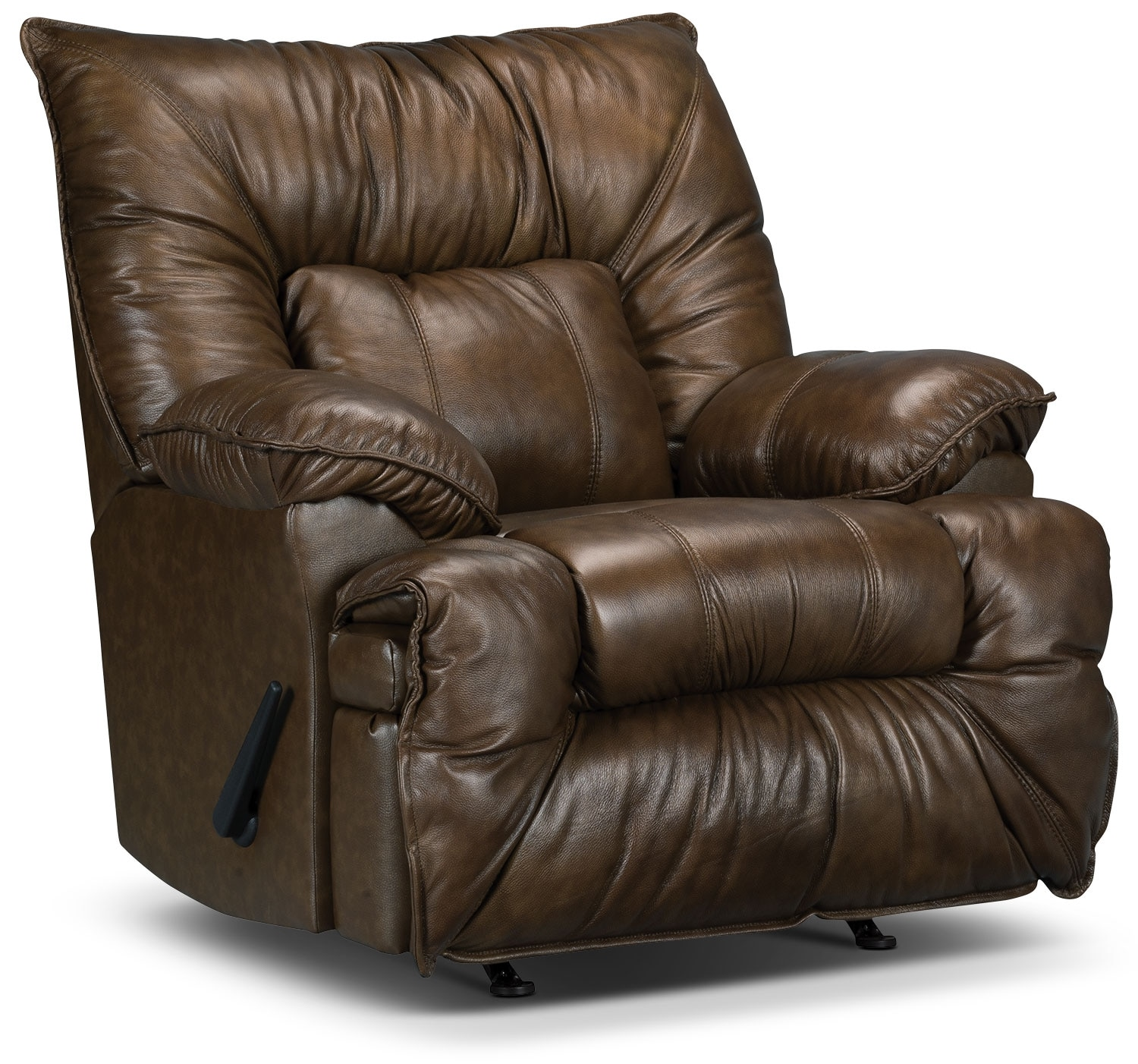 Designed2B Recliner 7726 Leather-Look Fabric Rocking Chair- Walnut