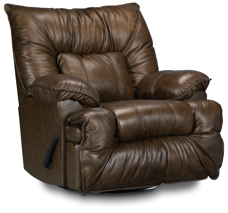 Living Room Furniture - Designed2B Recliner 7726 Leather-Like Fabric Swivel Glider Chair - Walnut
