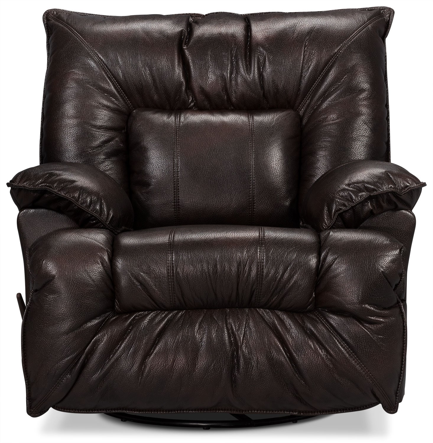 Living Room Furniture - Designed2B Recliner 7726 Leather-Look Fabric Swivel Glider Chair - Java