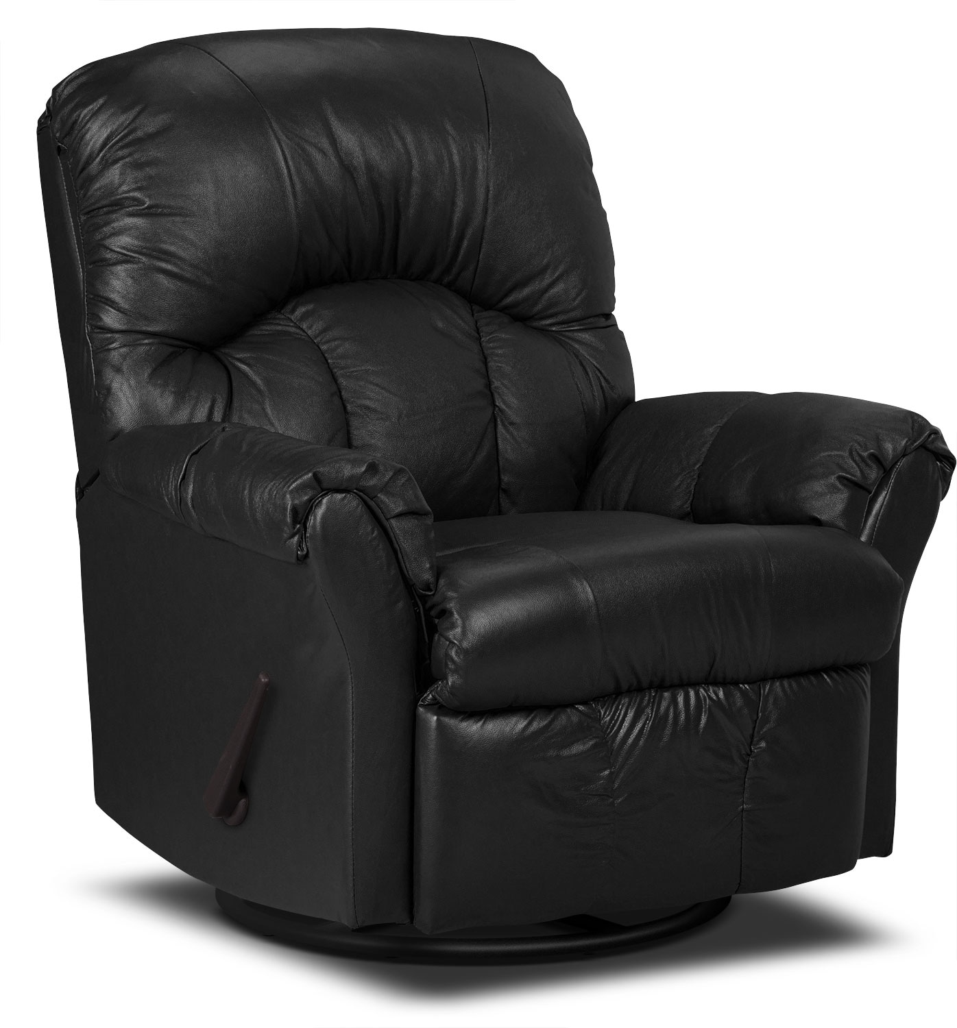 Living Room Furniture - Designed2B Recliner 6734 Genuine Leather Swivel Glider Chair - Black