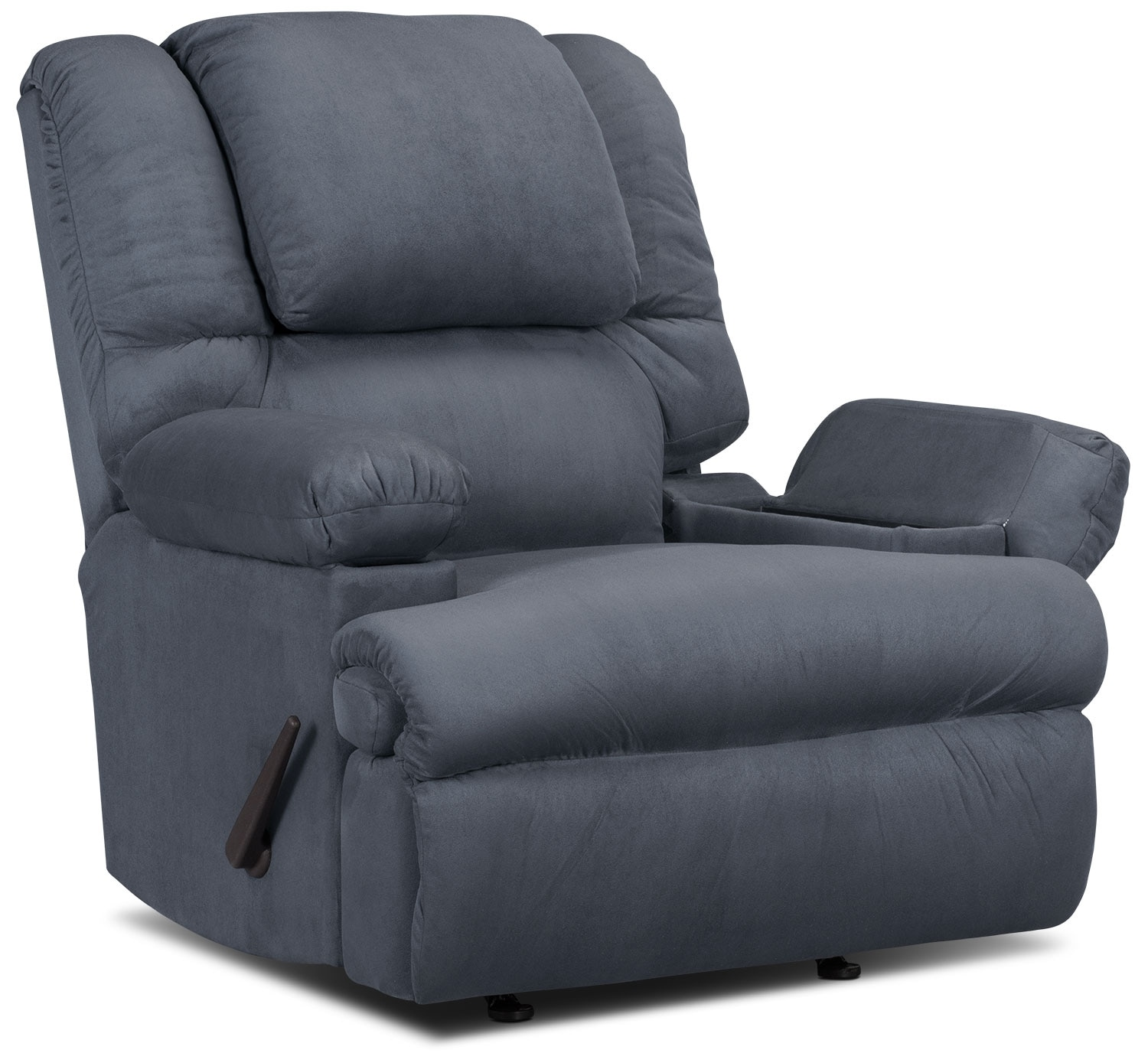 Designed2B Recliner 5598 Padded Suede Rocker with Storage Arms - Navy