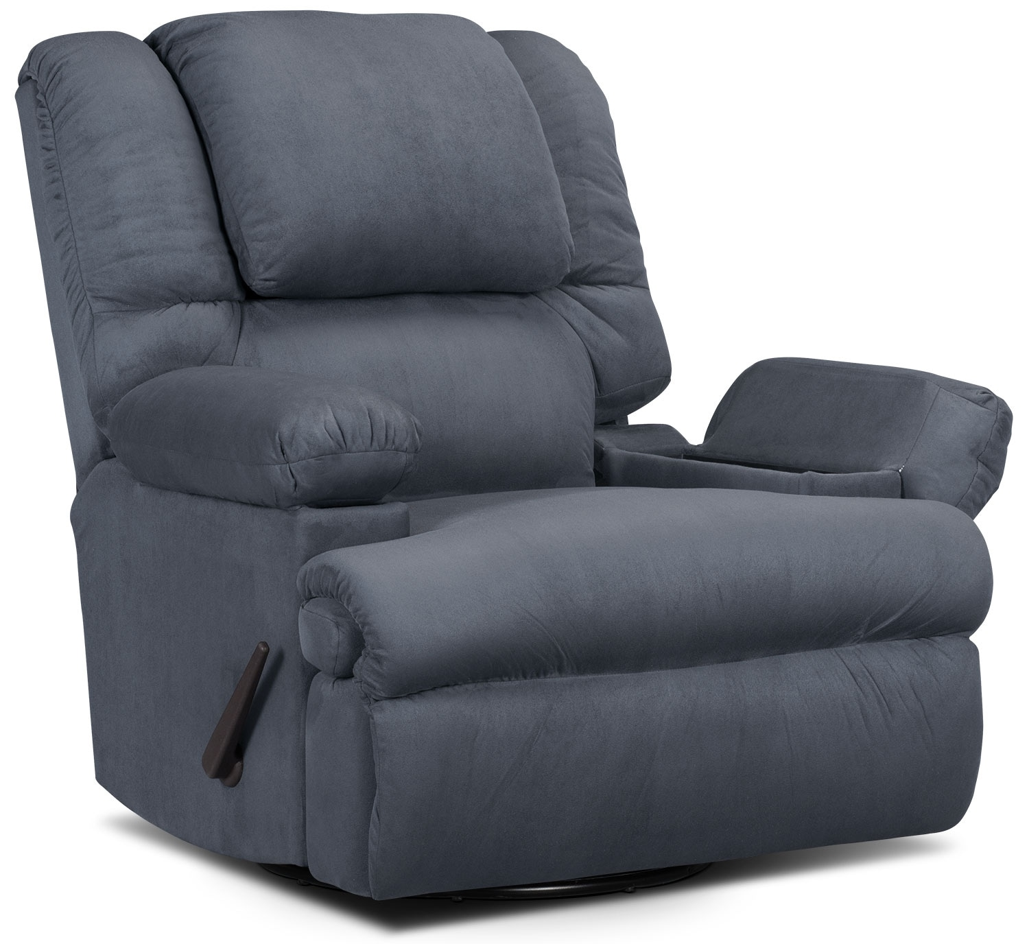 Living Room Furniture - Designed2B Recliner 5598 Padded Suede Swivel Rocker with Storage Arms - Navy