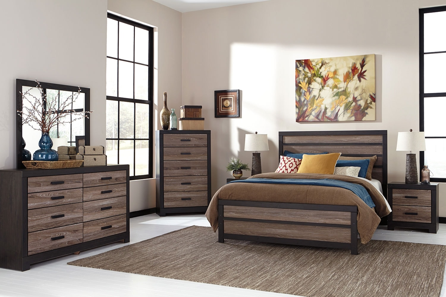 Harlinton 8 piece queen bedroom package the brick for Bedroom furniture packages