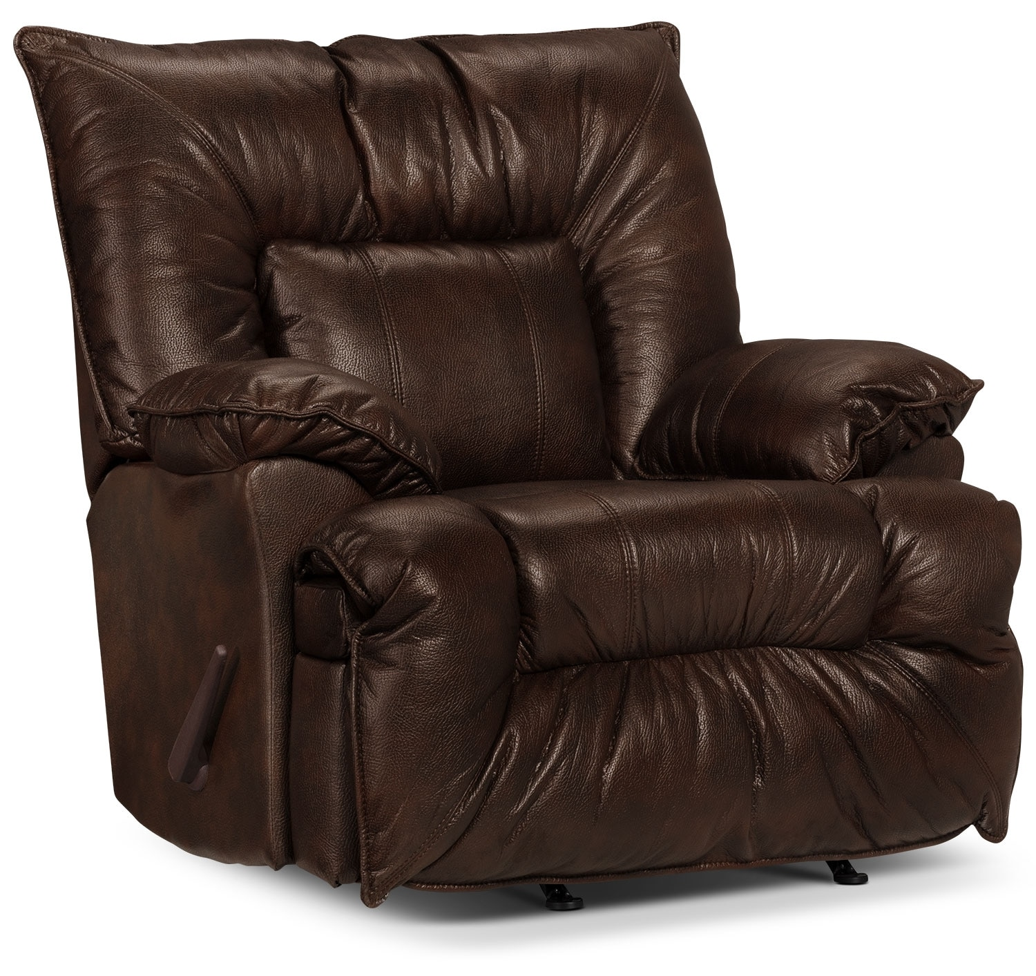 Living Room Furniture - Designed2B Recliner 7726 Genuine Leather Rocker Chair - Chocolate