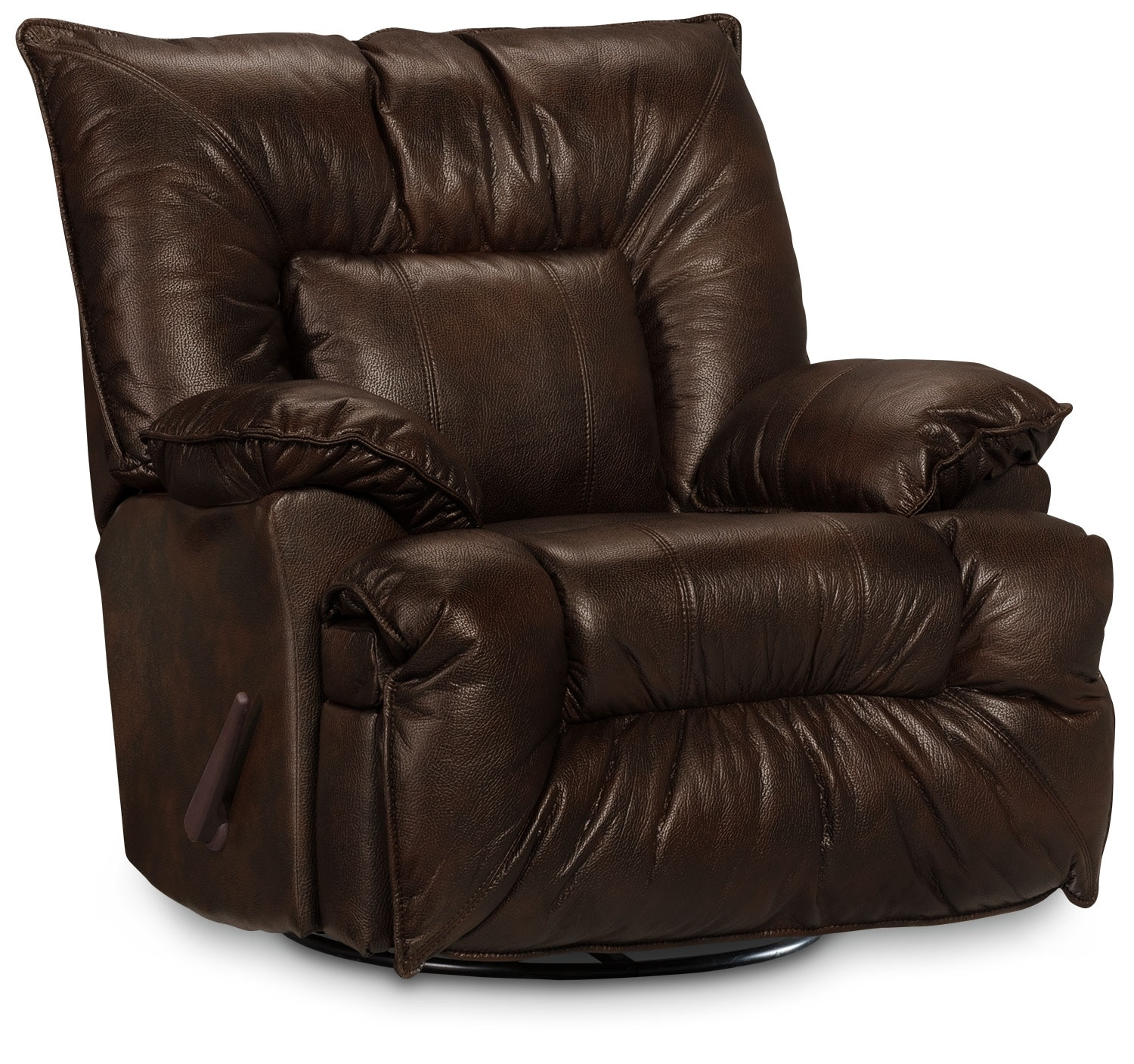 Living Room Furniture - Designed2B Recliner 7726 Genuine Leather Swivel Glider Chair - Chocolate
