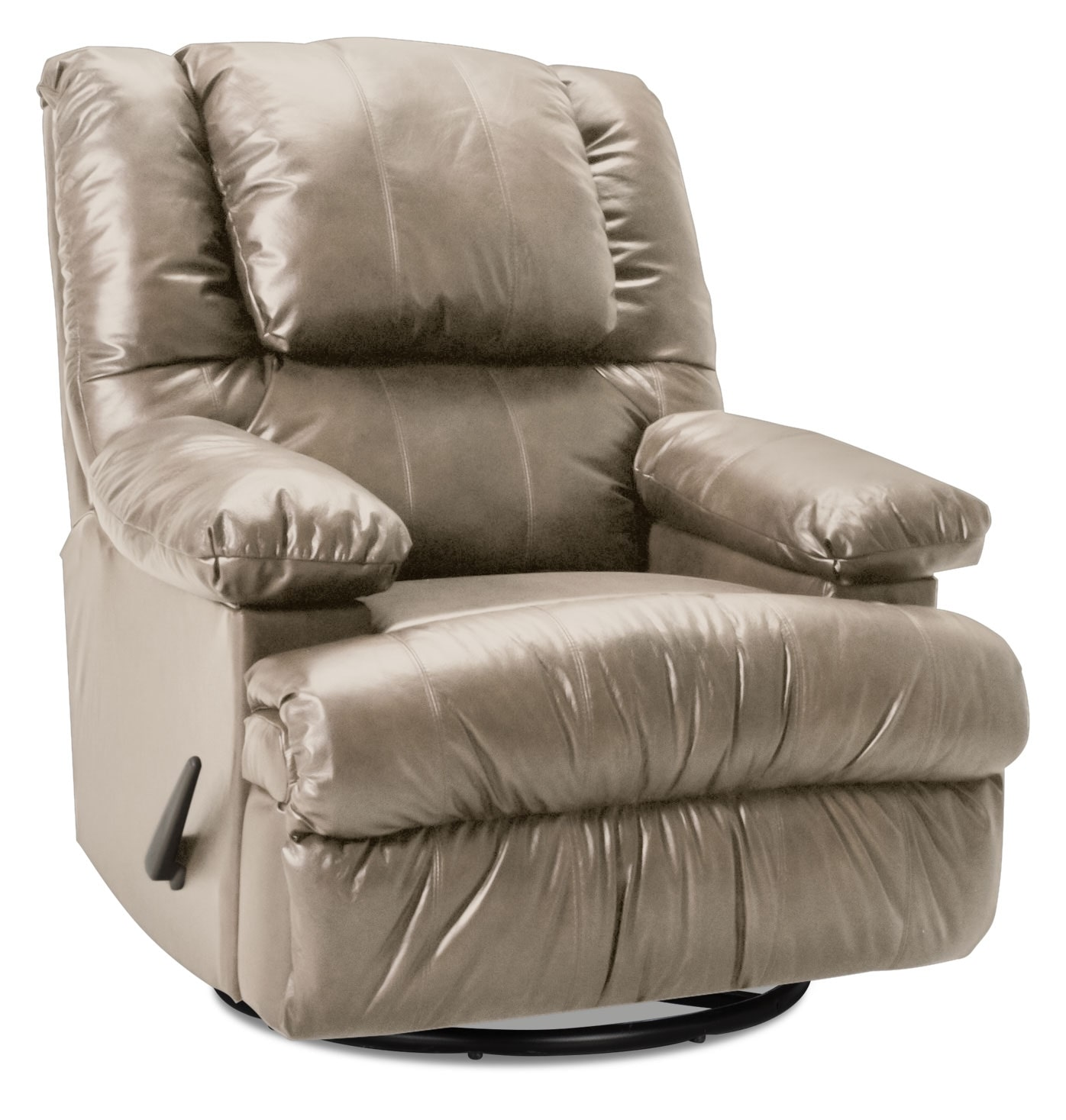 Living Room Furniture - Designed2B Recliner 5598 Bonded Leather Swivel Rocker with Storage Arms - Putty